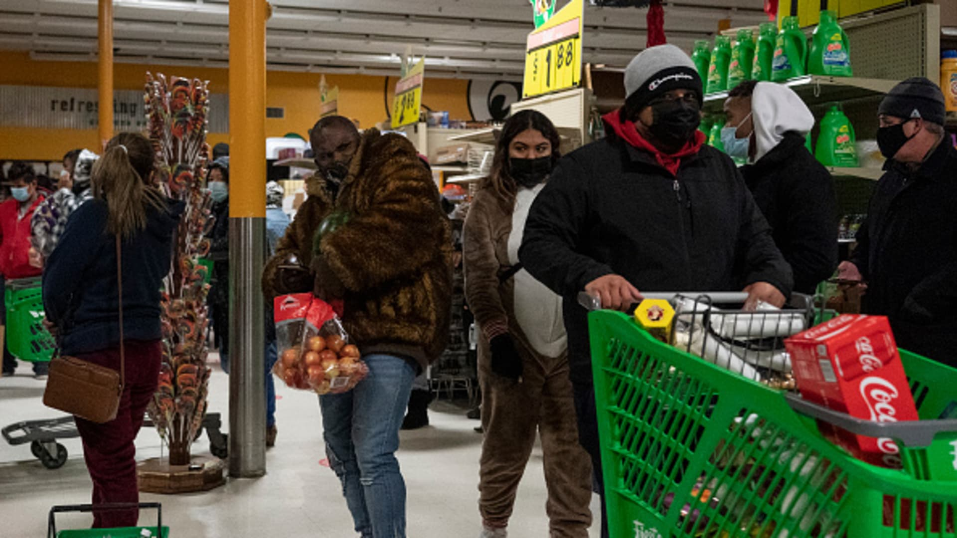 People shop in Fiesta supermarket on February 16, 2021 in Houston, Texas. Winter storm Uri has brought historic cold weather, power outages and traffic accidents to Texas as storms have swept across 26 states with a mix of freezing temperatures and precipitation.