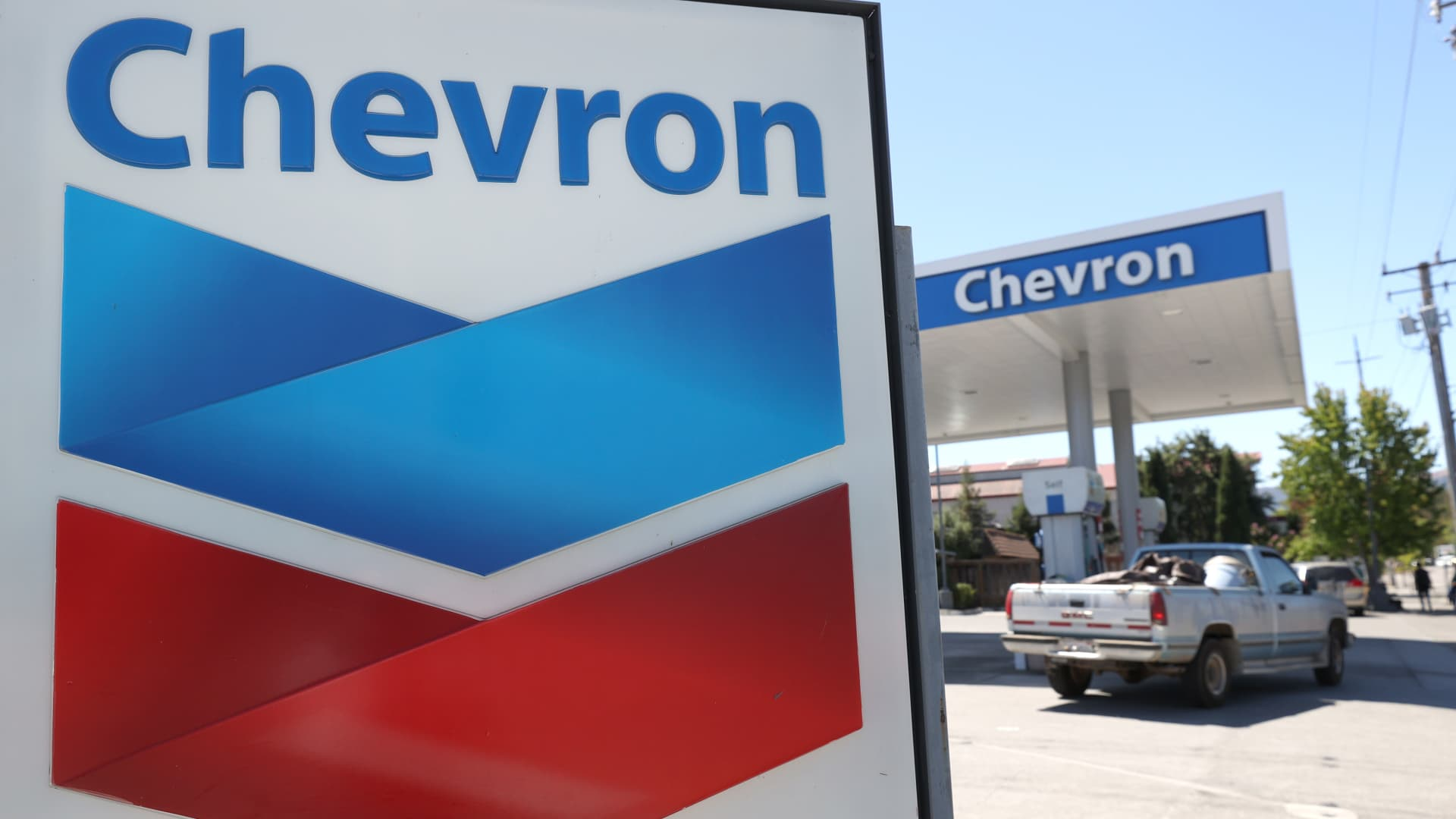 A sign is posted in front of a Chevron gas station on July 31, 2020 in Novato, California.