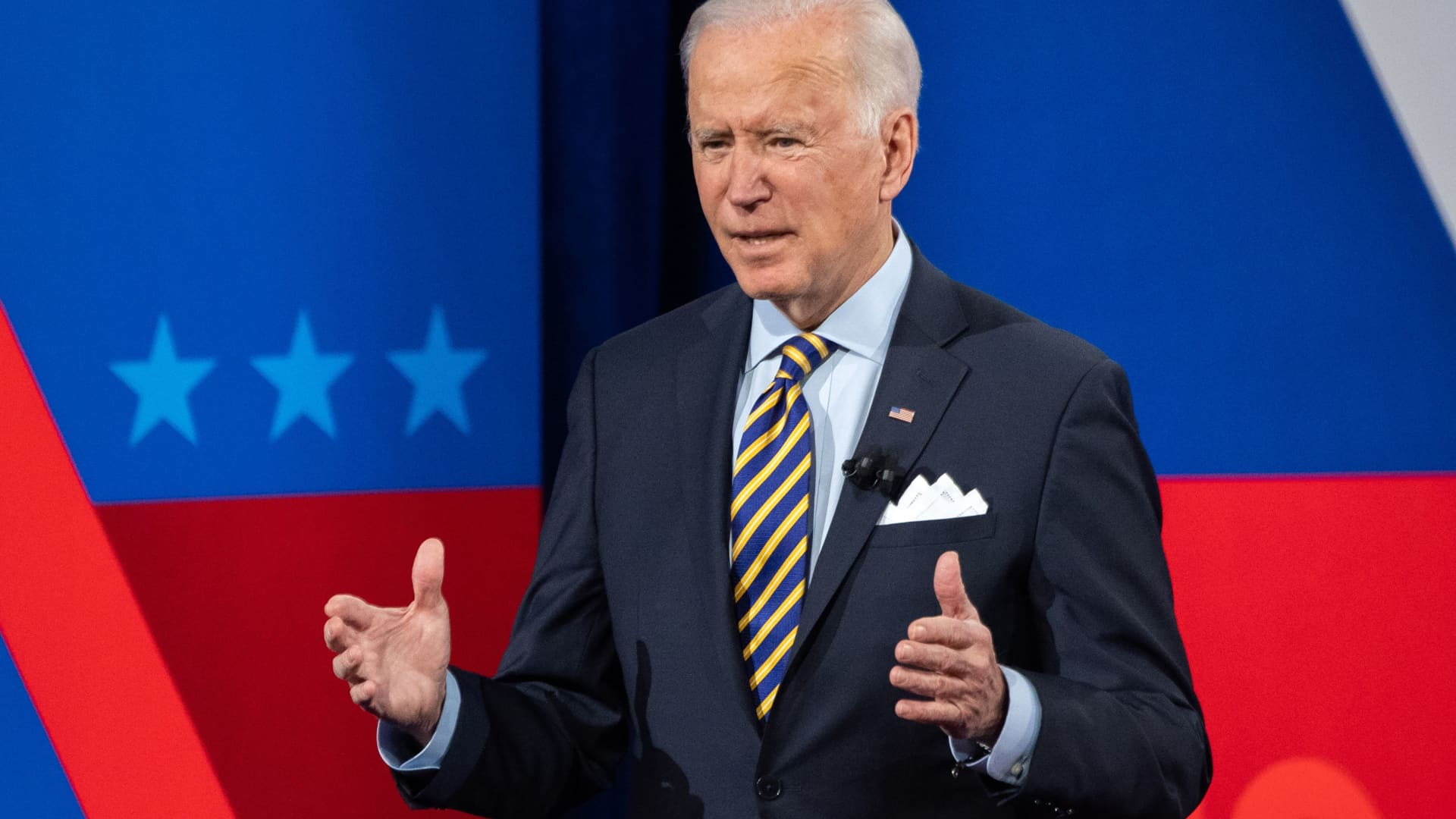 US President Joe Biden participates in a CNN town hall at the Pabst Theater in Milwaukee, Wisconsin, February 16, 2021.
