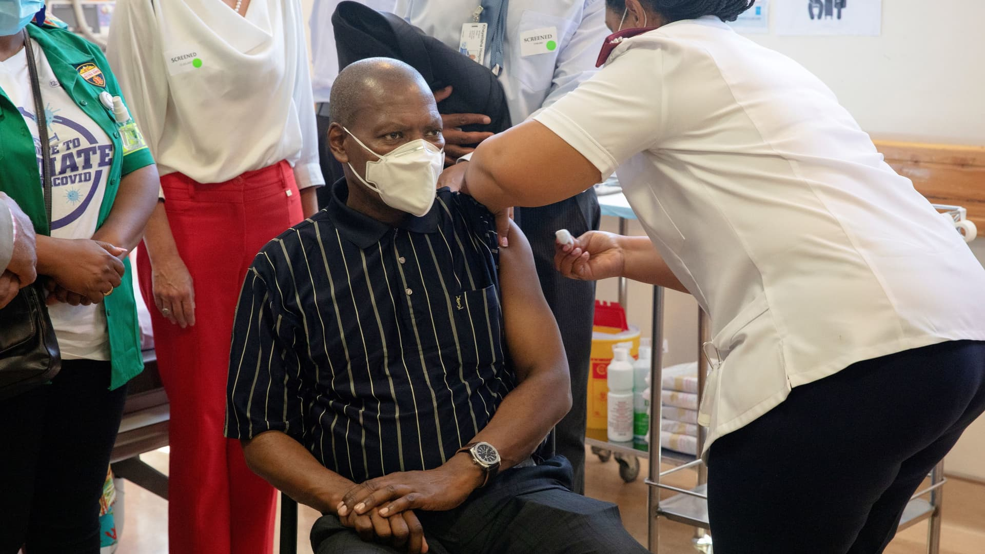 South African Health Minister Zweli Mkhize receives the Johnson and Johnson coronavirus disease (COVID-19) vaccination at the Khayelitsha Hospital near Cape Town, South Africa, February 17, 2021.