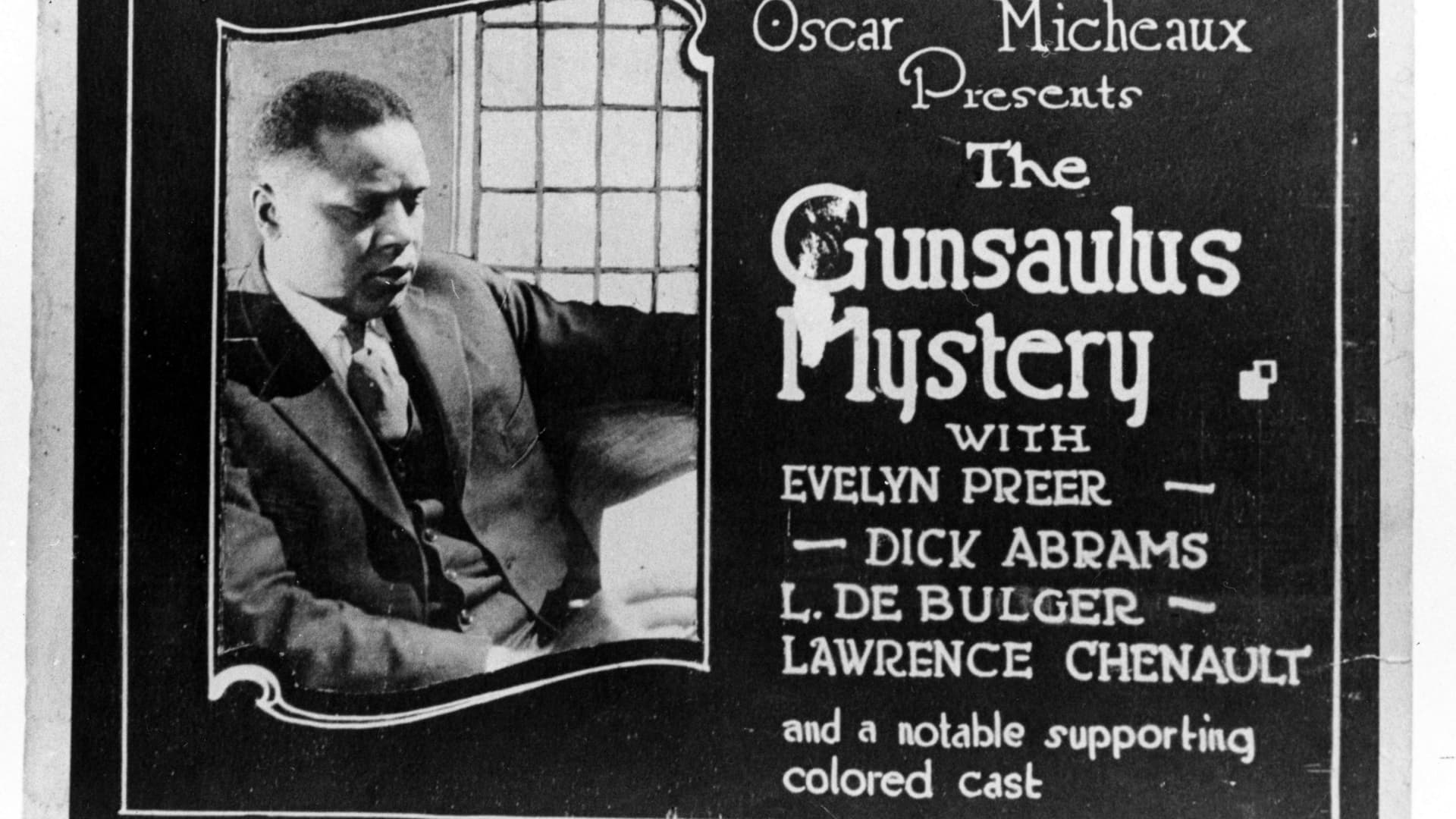 A lobby card for the 1921 silent film 'The Gunsaulus Mystery,