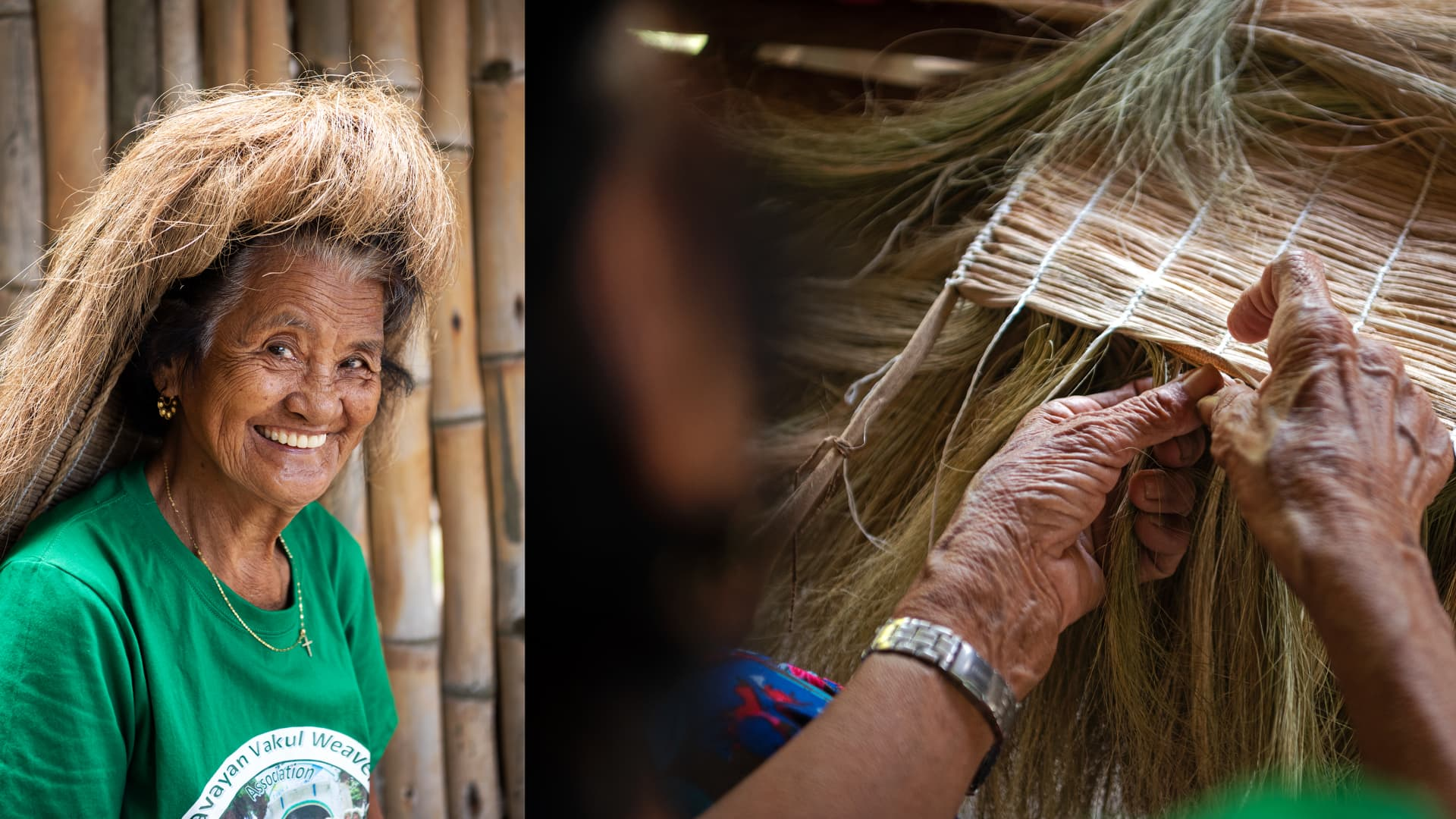 A woman in Chavayan wears a vakul made from hand-sewn palm fronds.