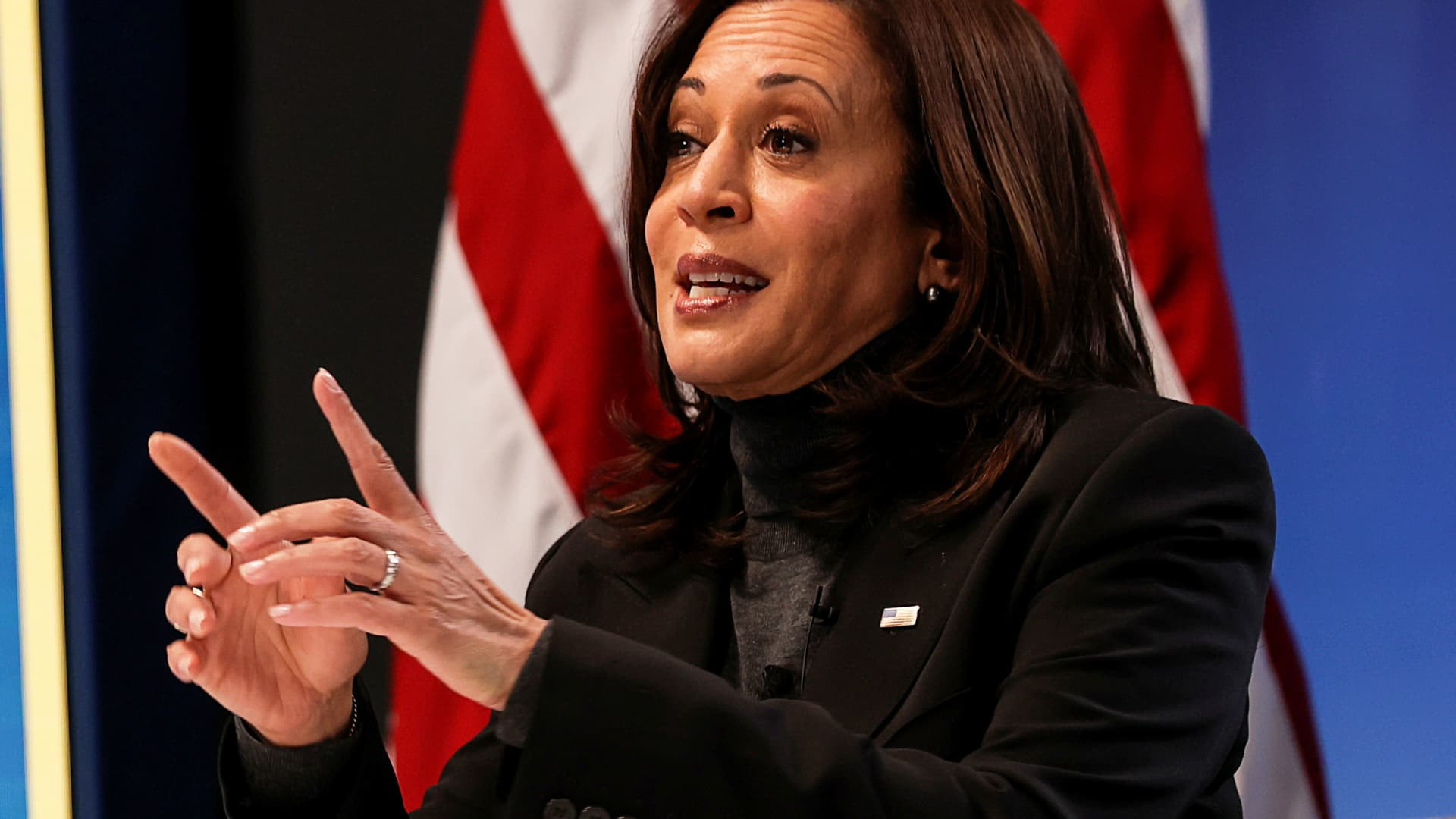 Vice President Kamala Harris speaks during a virtual town hall with female congressional lawmakers and women leaders to discuss the administration?s ongoing coronavirus disease (COVID-19) response and the importance of passing coronavirus aid legislation at the White House in Washington, U.S., February 18, 2021.