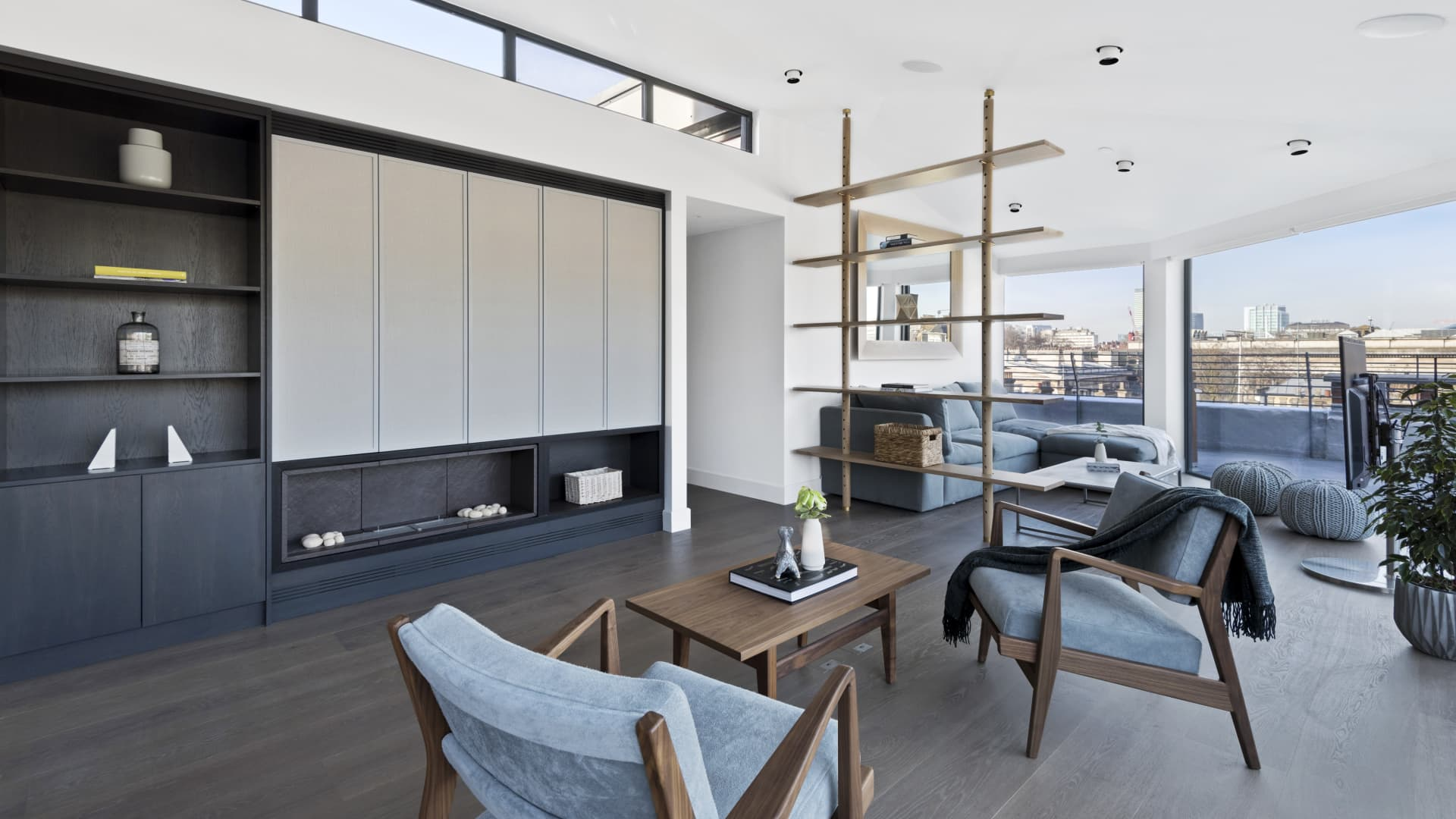 A three-bedroom penthouse in London that is available to rent through Sonder.