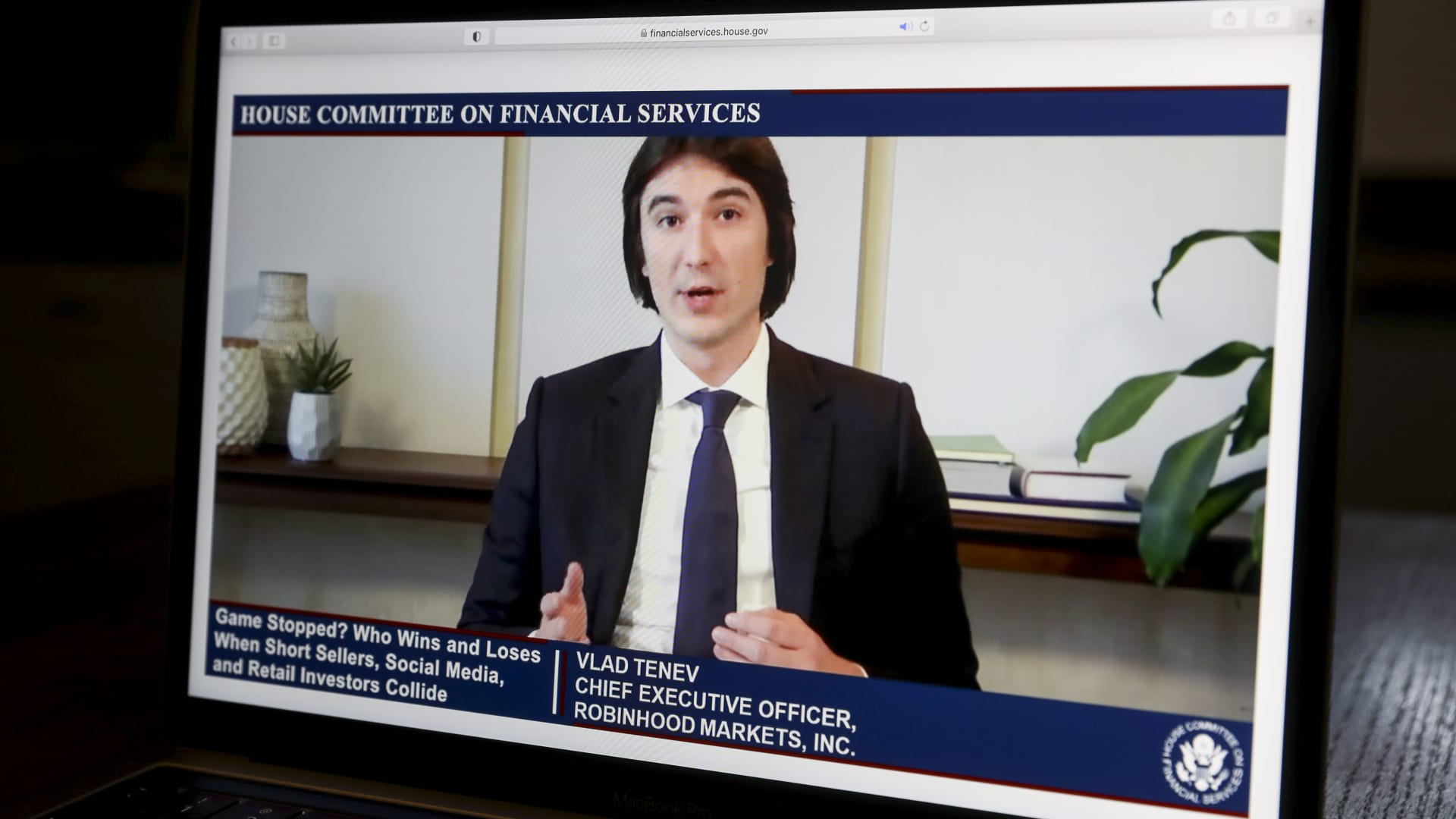 Vlad Tenev, chief executive officer and co-founder of Robinhood Markets Inc., speaks virtually during a House Financial Services Committee hearing on a laptop computer in Tiskilwa, Illinois, U.S., on Thursday, Feb. 18, 2021.