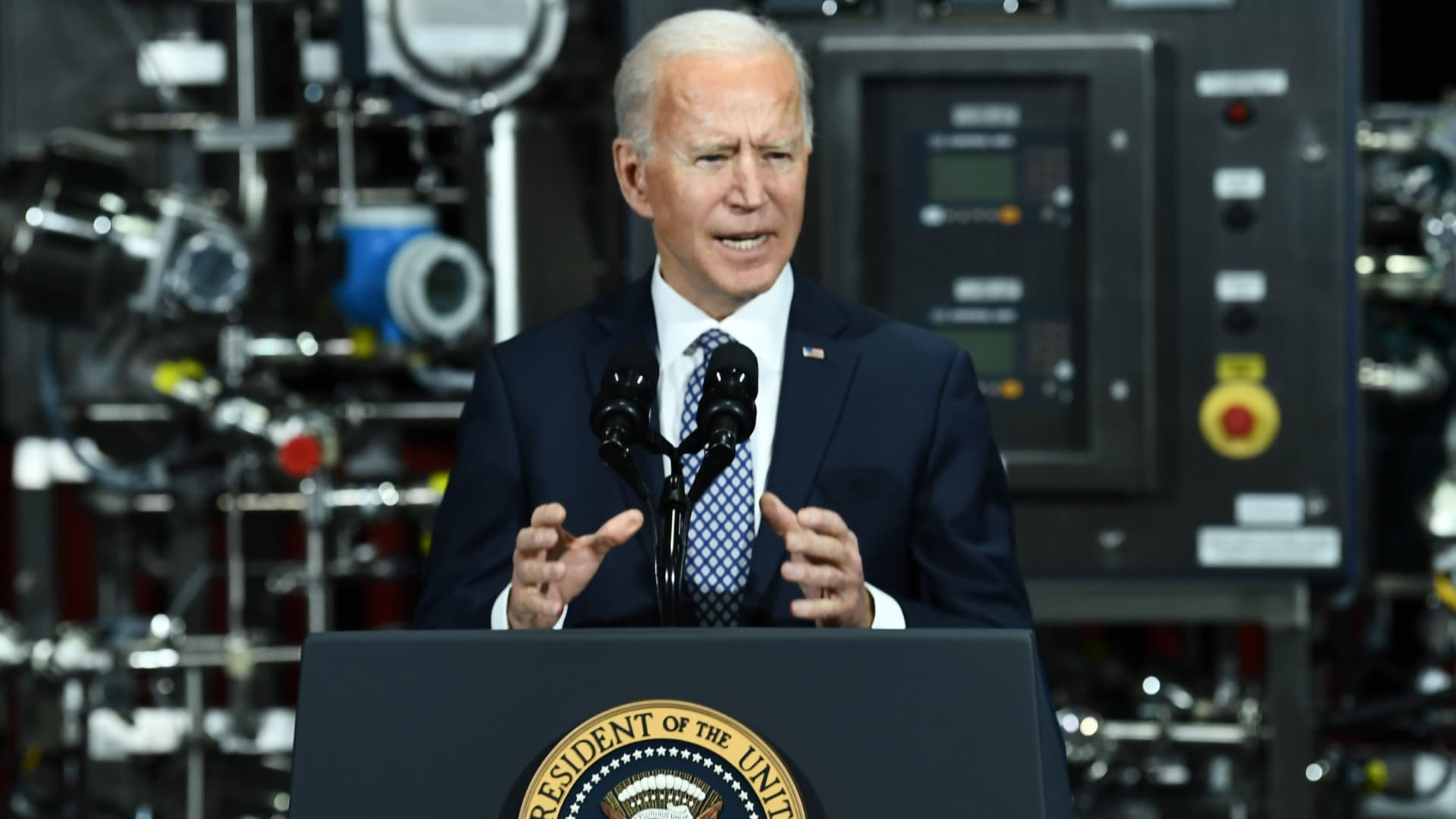 US President Joe Biden speaks at the Covid-19 vaccine Pfizer Kalamazoo Manufacturing Site on February 19, 2021, in Portage, Michigan.