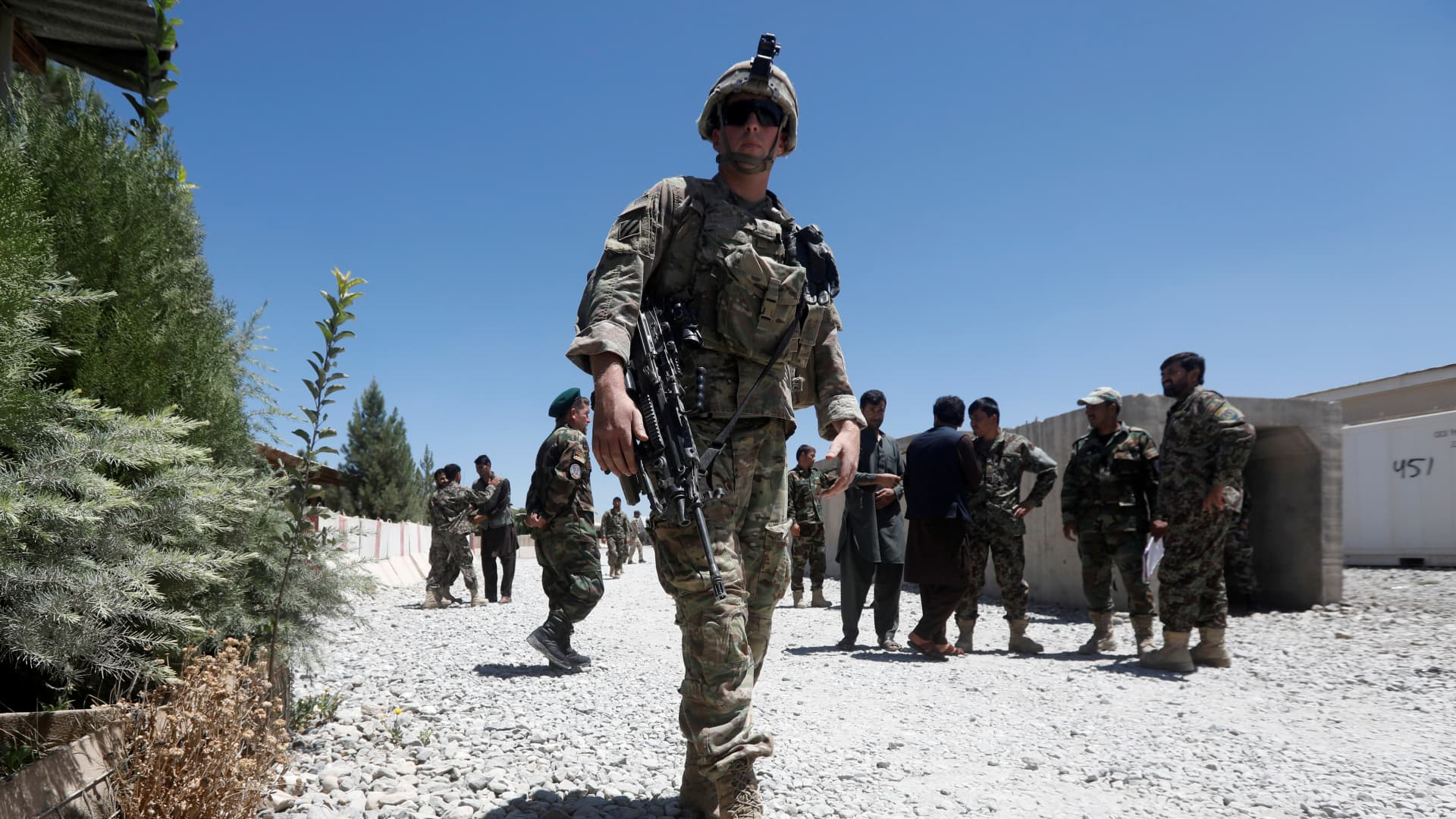 A U.S. soldier keeps watch at an Afghan National Army (ANA) base in Logar province, Afghanistan August 5, 2018
