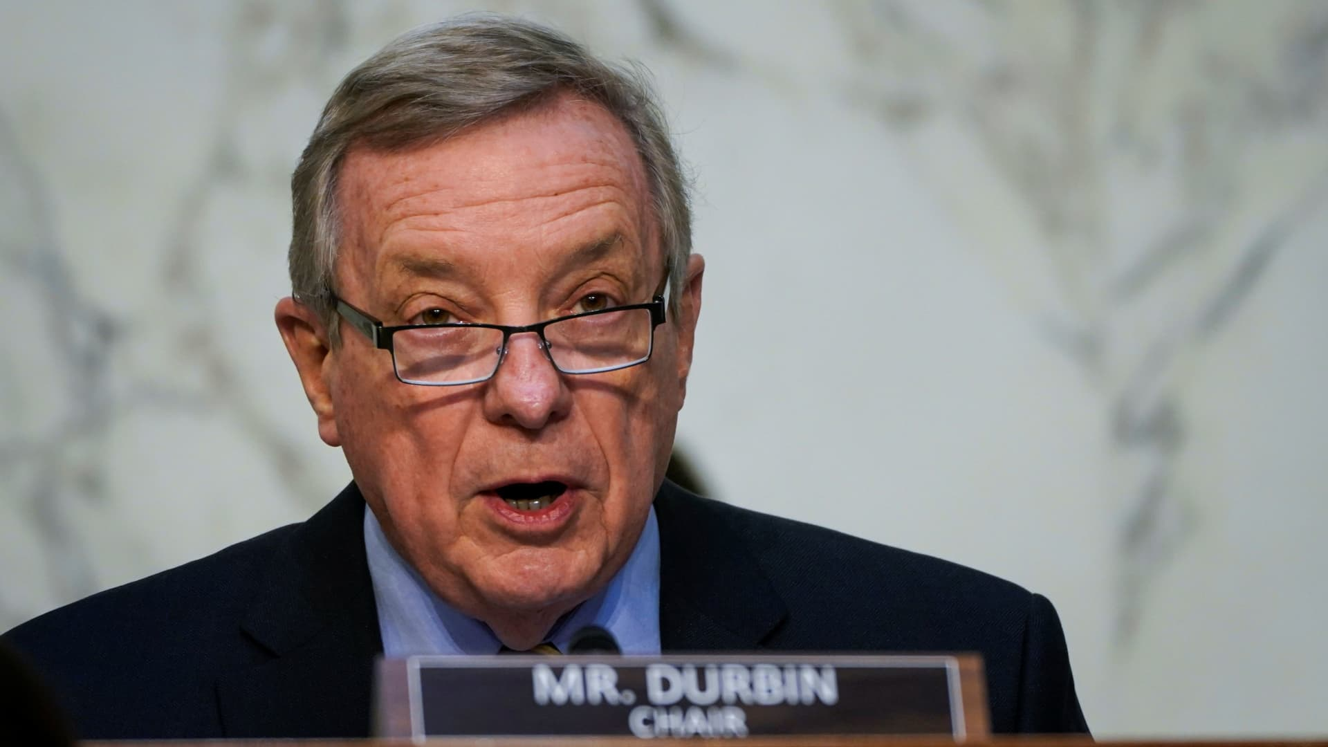Senate Judiciary Committee chairman Sen. Dick Durbin (D-IL) speaks during his opening statement during Attorney General nominee Merrick Garland's confirmation hearing before the Senate Judiciary Committee, Washington, DC, February 22, 2021.