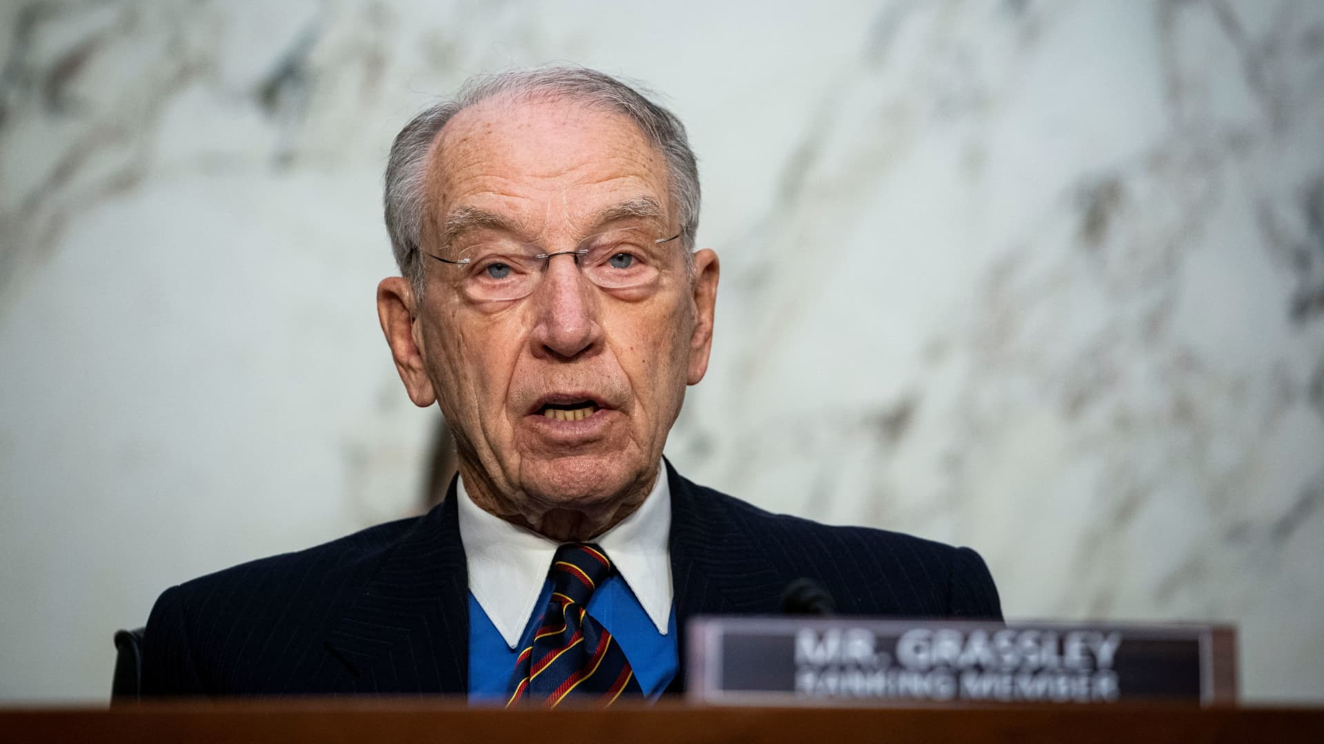 Ranking member Sen. Chuck Grassley (R-IA) speaks during Attorney General nominee Merrick Garland's confirmation hearing before the Senate Judiciary Committee, Washington, DC, U.S., February 22, 2021.