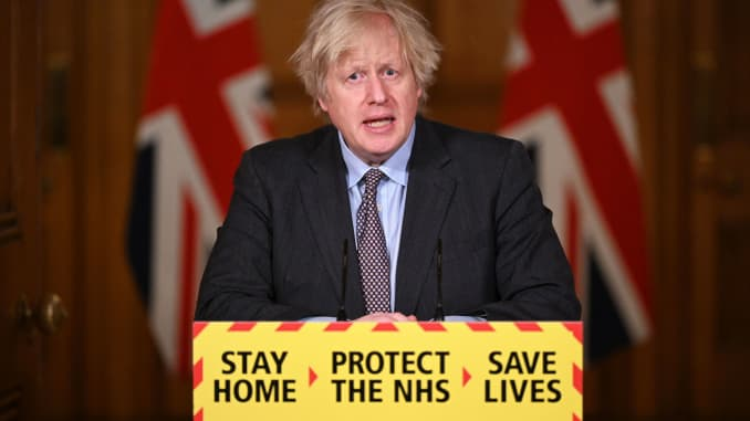 British Prime Minister Boris Johnson speaks during a televised press conference at 10 Downing Street on February 22, 2021 in London, England.