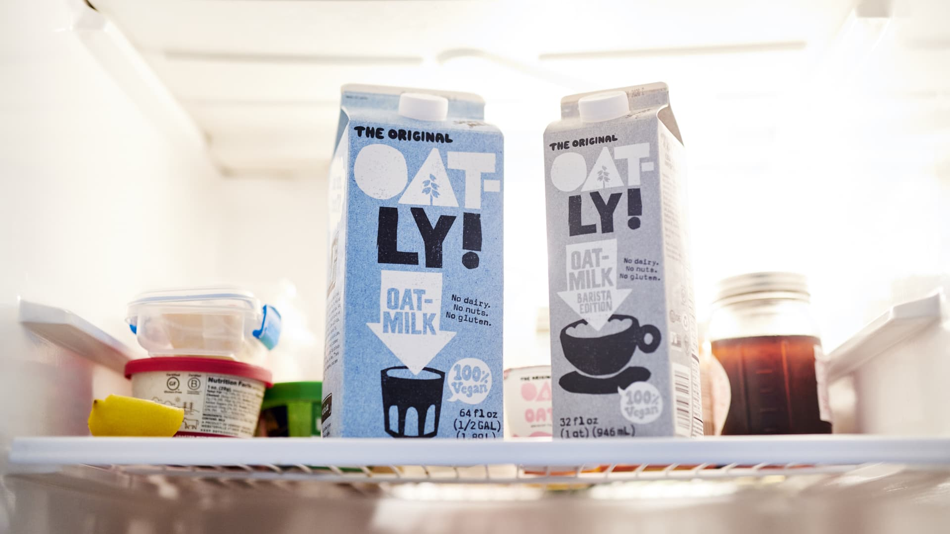 Cartons of Oatly brand oat milk are arranged for a photograph in the Brooklyn borough of New York, U.S., on Wednesday, Sept. 16, 2020.
