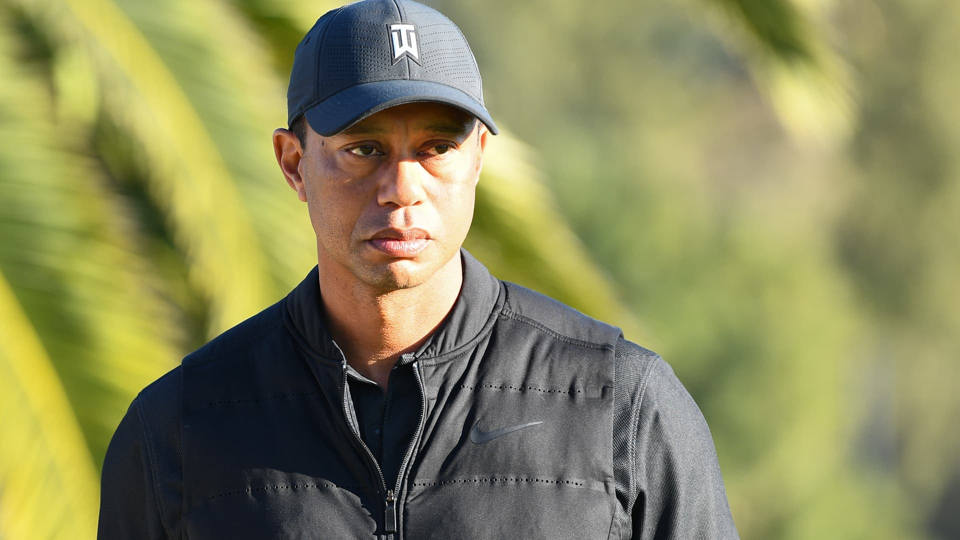 Tiger Woods looks on from the 18th hole during the final round of The Genesis Invitational golf tournament at the Riviera Country Club in Pacific Palisades, CA on February 21, 2021.