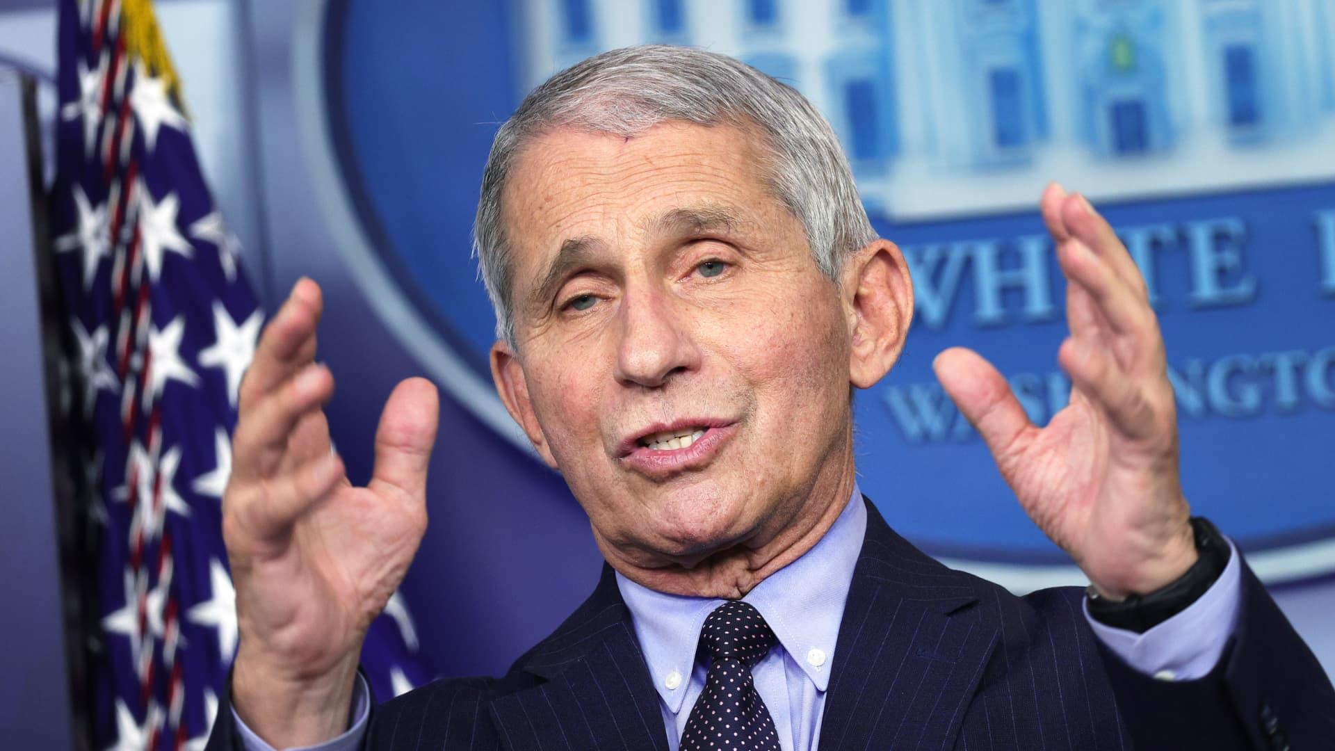 Dr Anthony Fauci, Director of the National Institute of Allergy and Infectious Diseases, speaks during a White House press briefing, conducted by White House Press Secretary Jen Psaki, at the James Brady Press Briefing Room of the White House January 21, 2021 in Washington, DC.