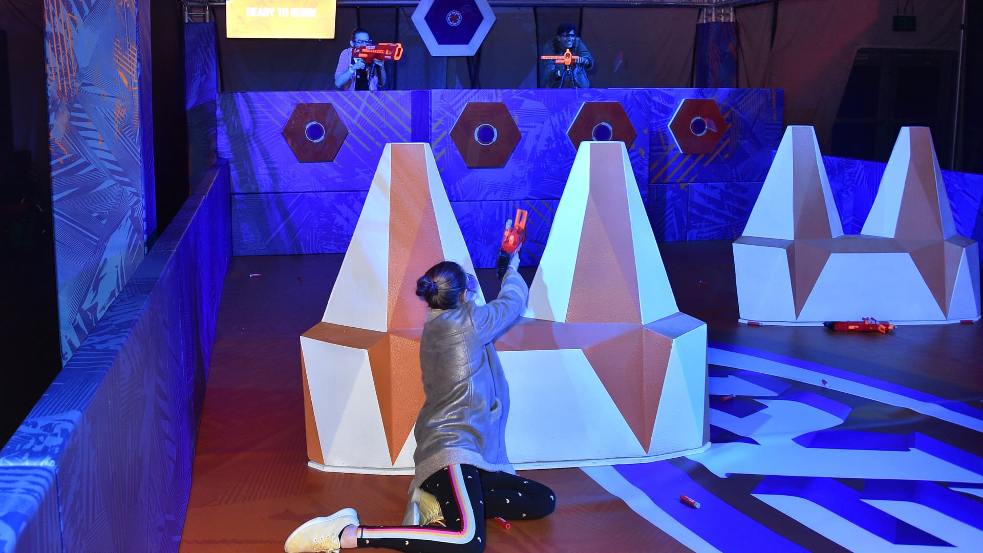 A guest attends the NERF Challenge World Premiere at L.A. Live Event Deck on December 5, 2019 in Los Angeles, California. NERF Challenge is a touring live stage and fan experience that brings the action and competitive fun of the NERF brand to life, and will travel across select US and Canada markets in 2020 following its Los Angeles run.