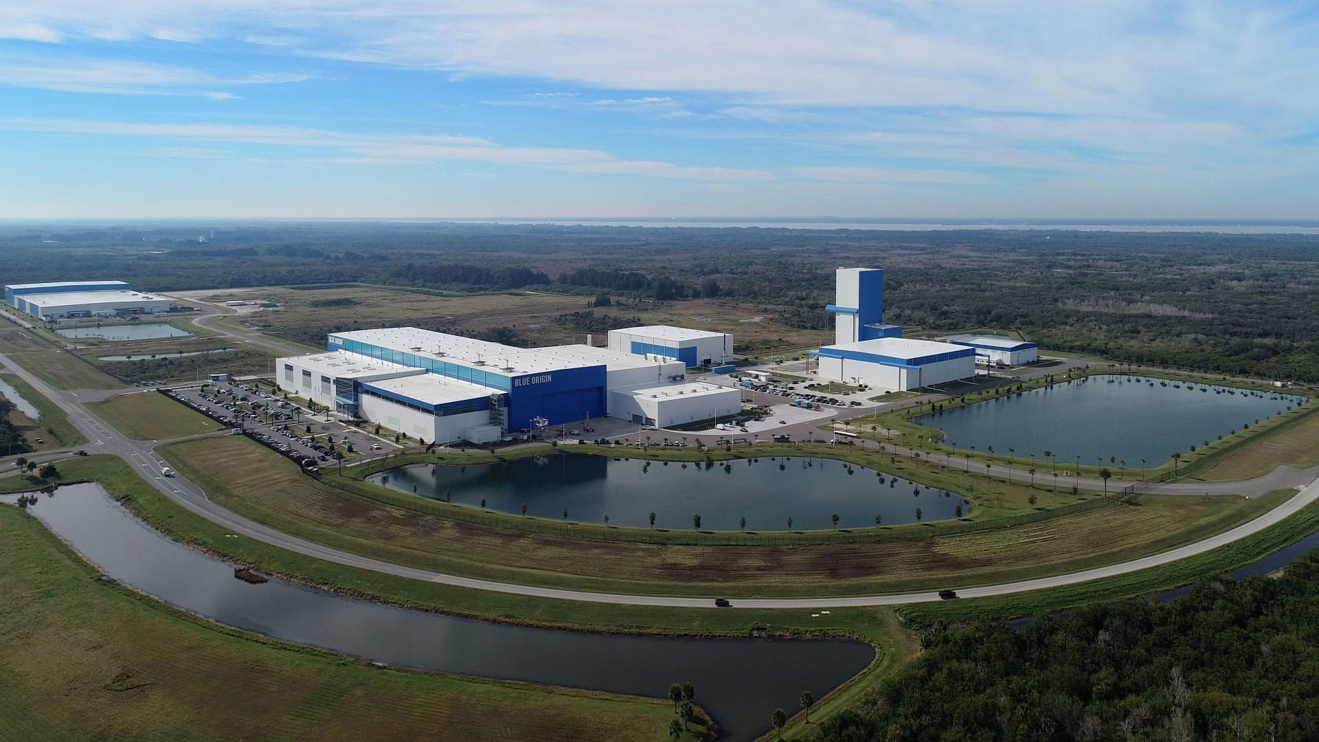 An aerial view of the company's manufacturing and testing facility in Florida.