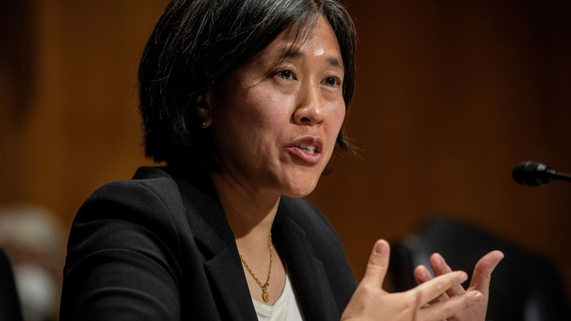 Katherine C. Tai addresses the Senate Finance committee hearings to examine her nomination to be United States Trade Representative, with the rank of Ambassador, in Washington, DC February 25, 2021.