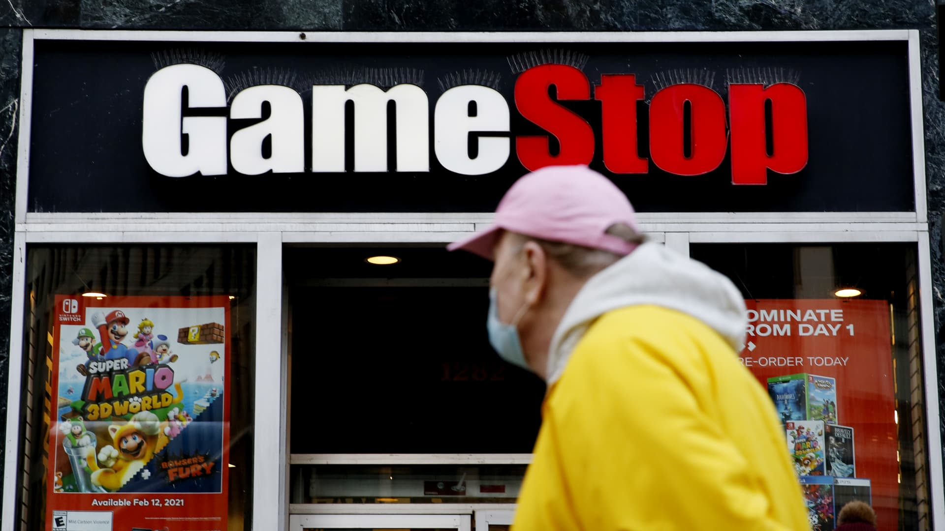 A man looks at GameStop at 6th Avenue on February 25, 2021 in New York.