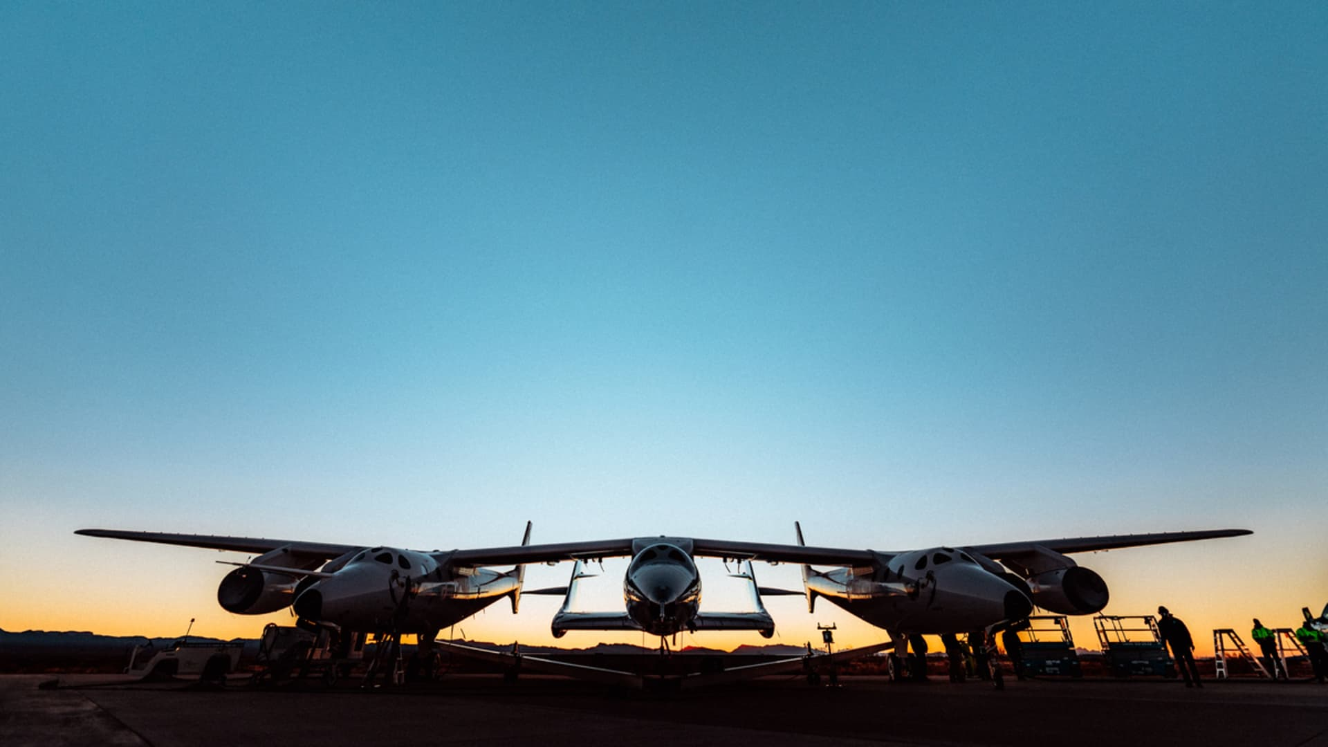 Preflight operations underway on the company's SpaceShipTwo vehicle Unity and mothership Eve.