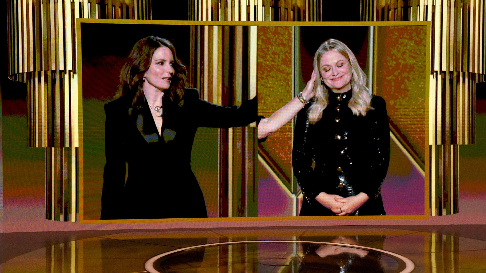 Tina Fey and Amy Poehler speak via livestream during the 78th Annual Golden Globe® Awards at The Rainbow Room on February 28, 2021 in New York City.