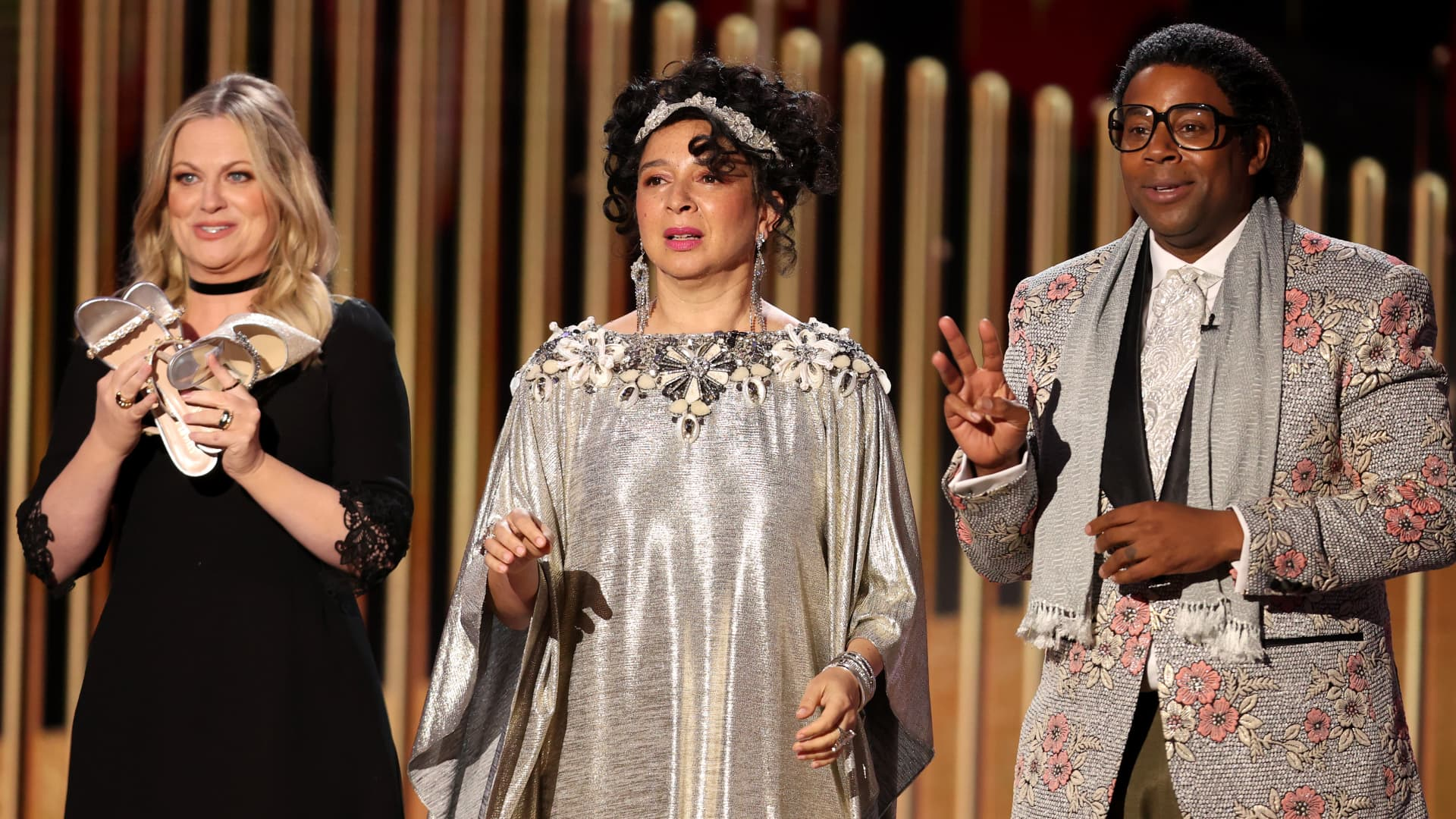 Pictured: (l-r) Amy Poehler, Maya Rudolph, and Kenan Thompson speak onstage at the 78th Annual Golden Globe Awards held at The Beverly Hilton and broadcast on February 28, 2021 in Beverly Hills, California.