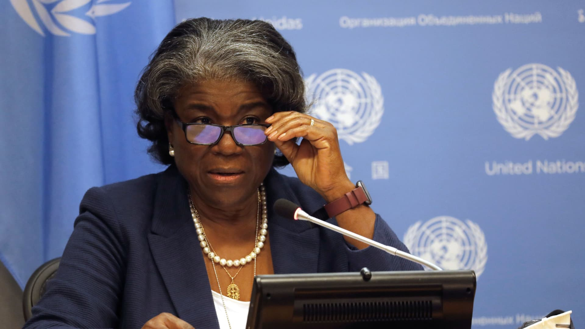 New U.S. Ambassador to the United Nations, Linda Thomas-Greenfield holds a news conference to mark the start of the U.S. presidency of the U.N. Security Council for March, at U.N. headquarters in New York, March 1, 2021.
