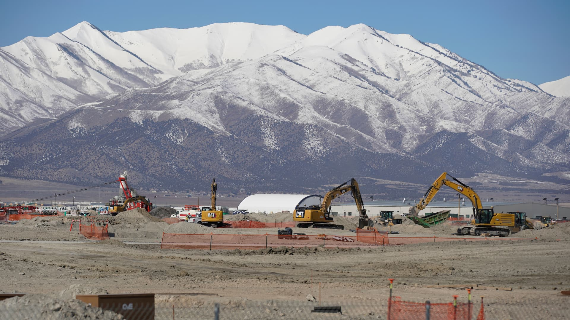 Construction workers work on phase two of the Facebook data centre on March 1, 2021 in Eagle Mountain, Utah.