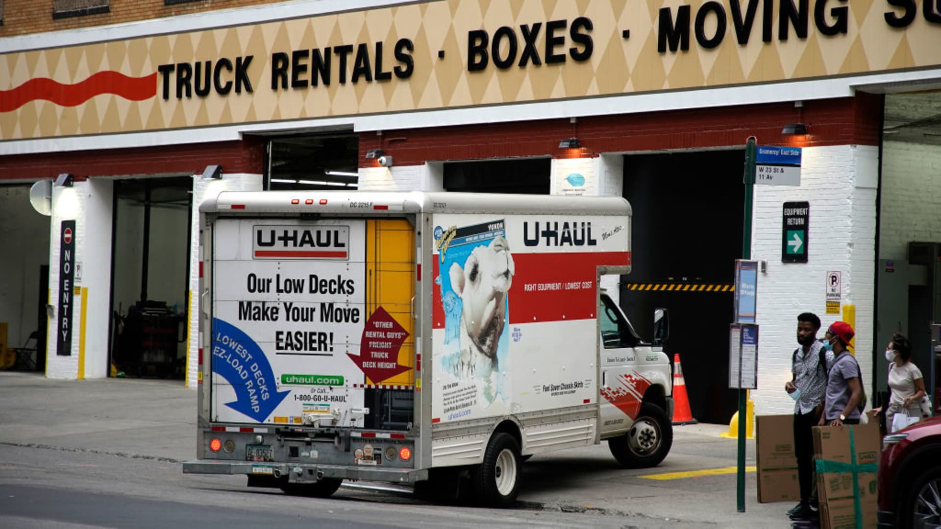 A truck is seen in front of the U-Haul facility as the city continues Phase 4 of re-opening following restrictions imposed to slow the spread of coronavirus on August 31, 2020 in New York City.