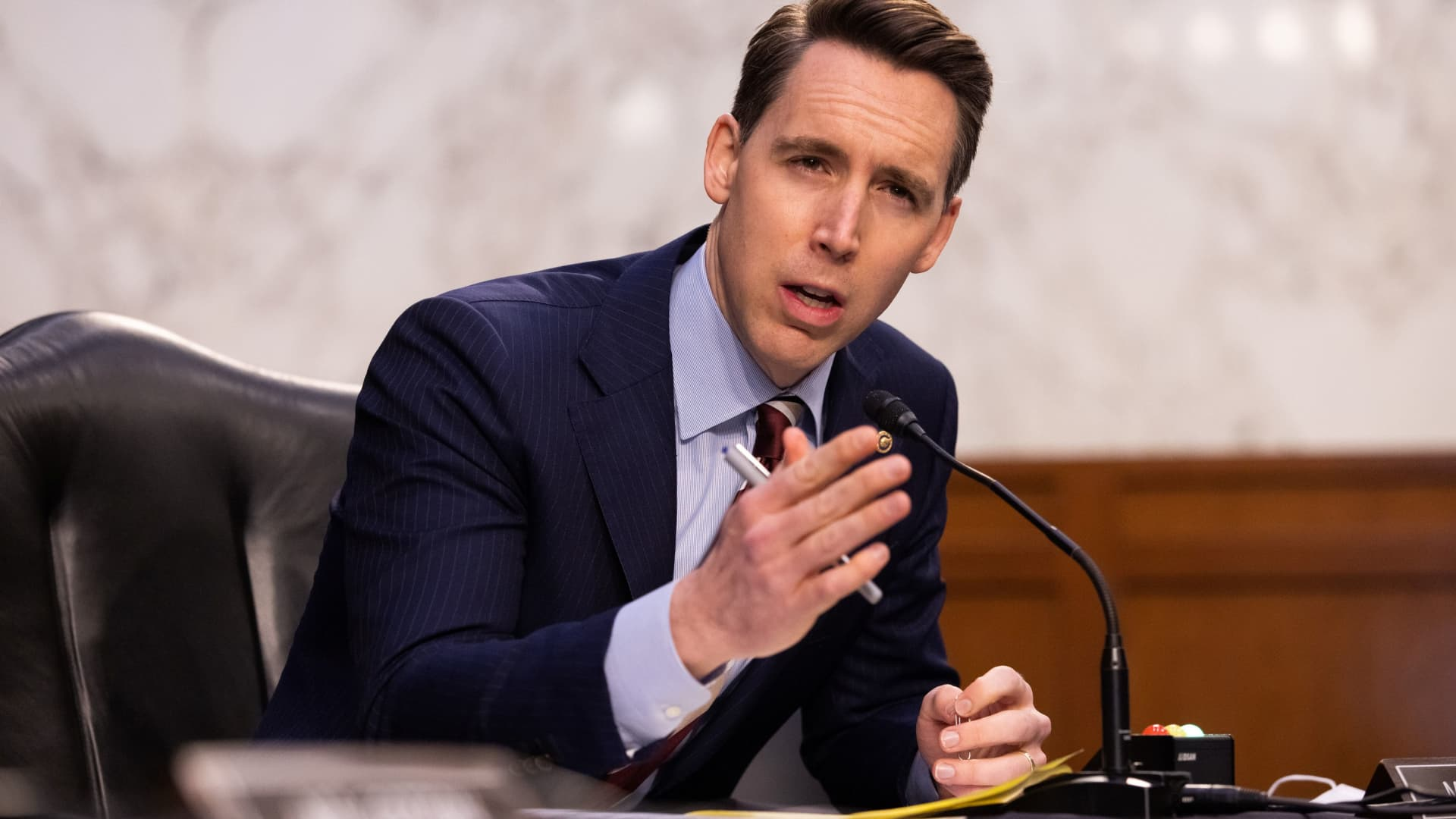 Senator Josh Hawley, R-MO, speaks during a Senate Judiciary Committee hearing on the the January 6th insurrection, in the Hart Senate Office Building on Capitol Hill in Washington, DC, March 2, 2021.