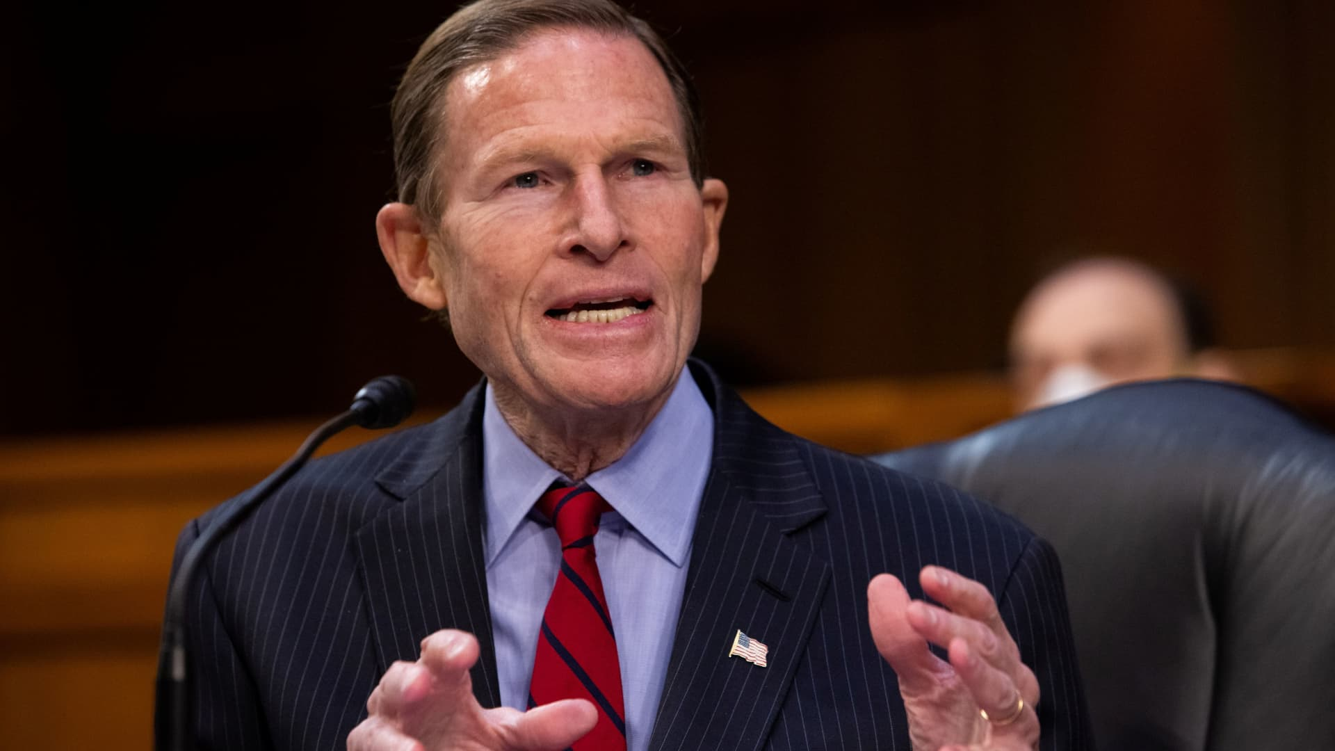 Senator Richard Blumenthal, D-CT, speaks during a Senate Judiciary Committee hearing on the January 6th insurrection, in the Hart Senate Office Building on Capitol Hill in Washington, DC, March 2, 2021.