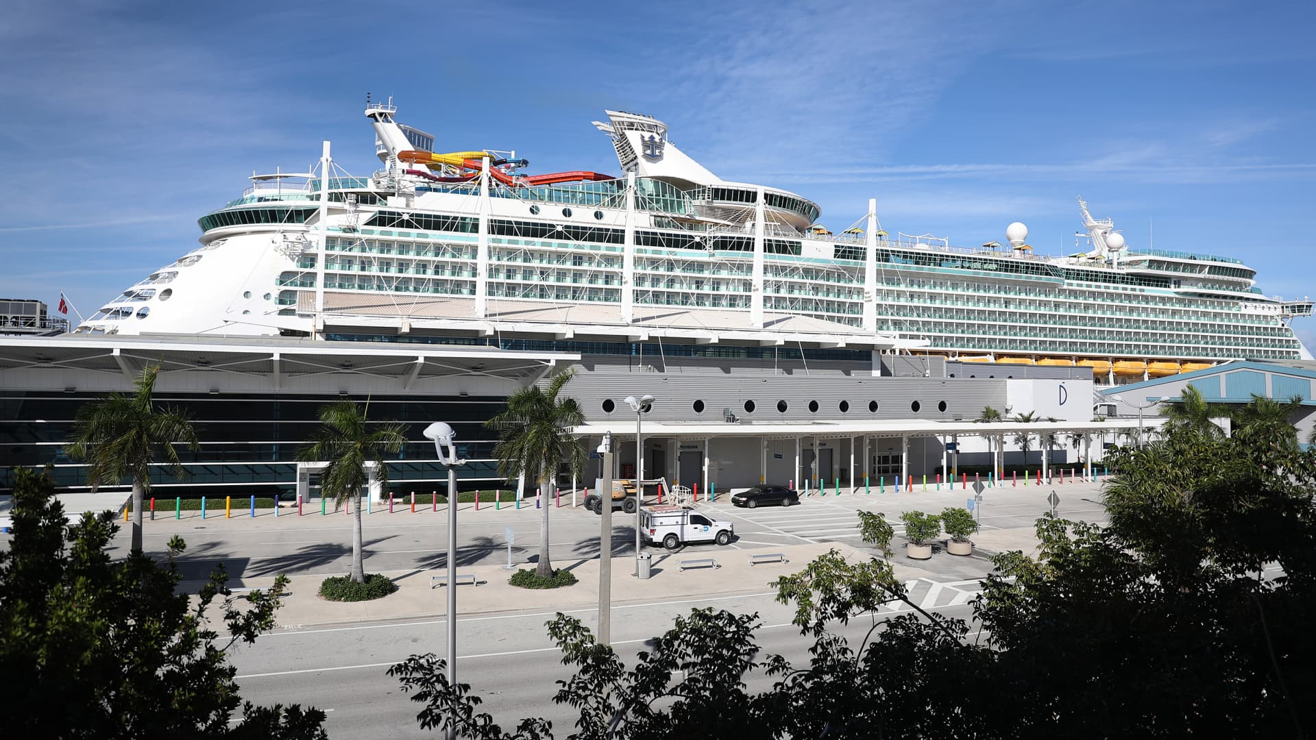 Royal Caribbean's Navigator of the Sea cruise ship is docked at PortMiami on March 2, 2021 in Miami, Florida.
