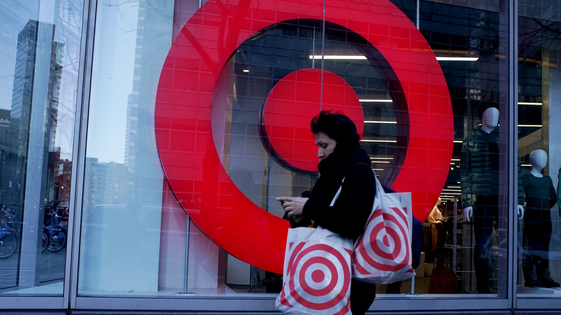 A woman exits Target store on March 02, 2021 in New York.