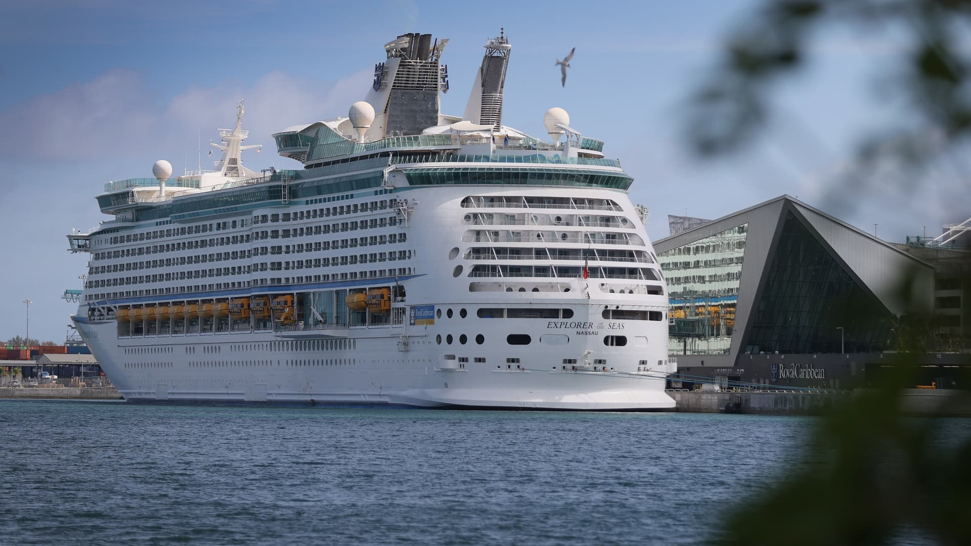 Royal Caribbean's Explorer of the Seas cruise ship is docked at PortMiami on March 02, 2021 in Miami, Florida.