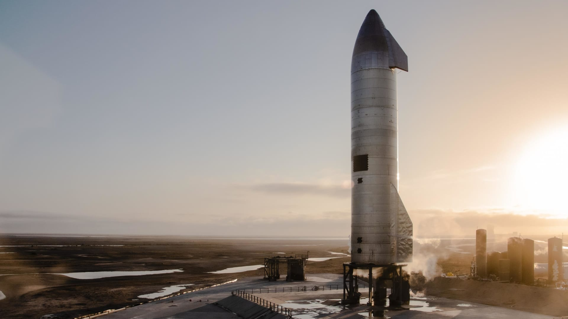 Starship prototype rocket SN10 stands on the launchpad at the company's facility in Boca Chica, Texas.
