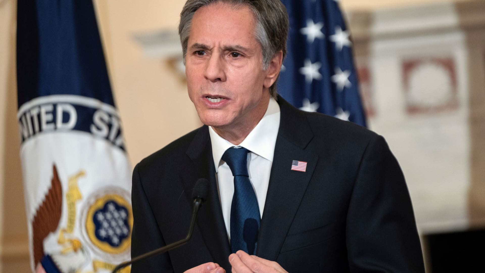 U.S. Secretary of State Antony Blinken delivers remarks about priorities for administration of U.S. President Joe Biden in the Ben Franklin room at the State Department in Washington, U.S. March 3, 2021.