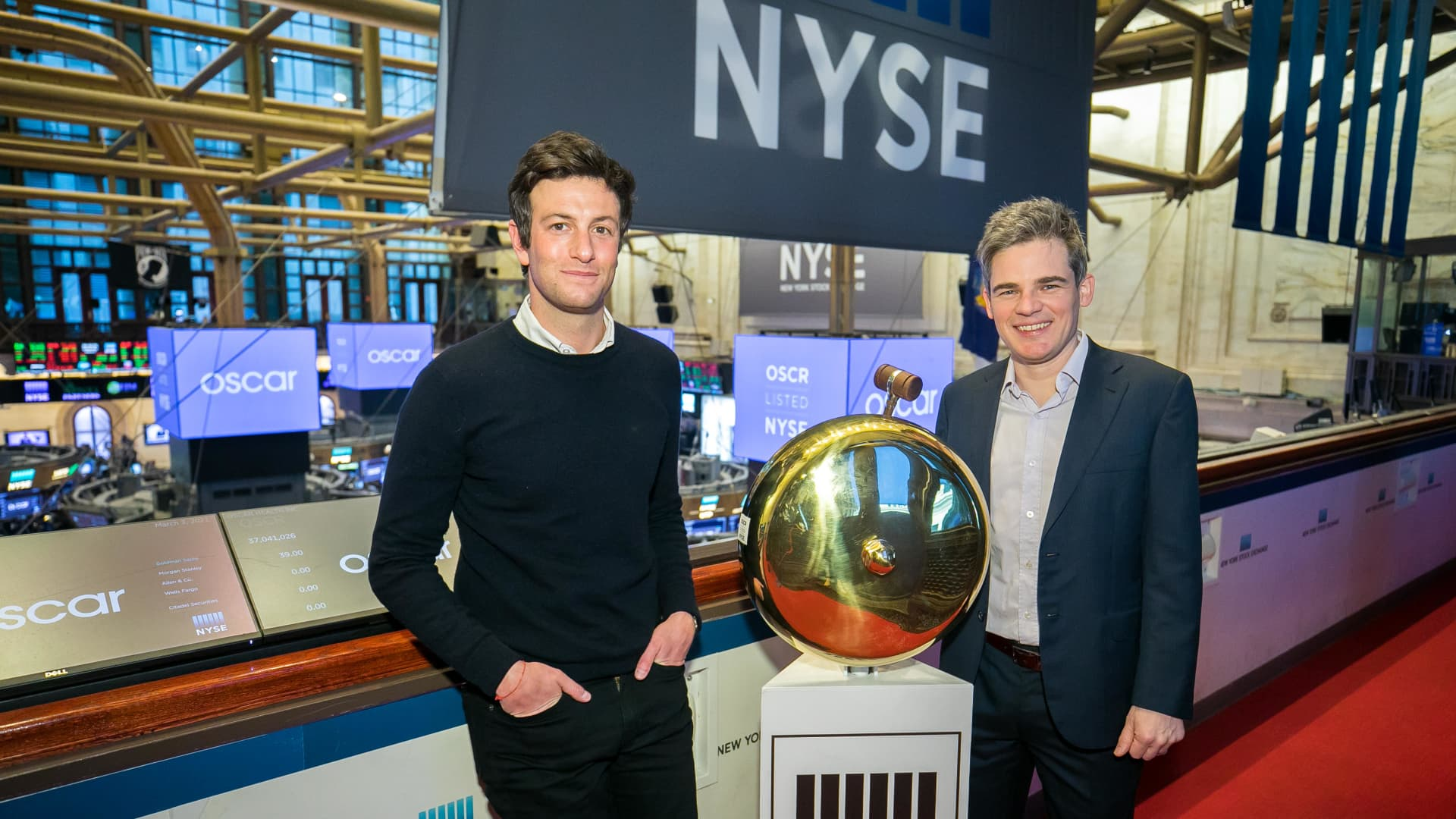 Oscar Health, Inc. Co-Founders Mario Schlosser and Josh Kushner, rings The Opening Bell®.