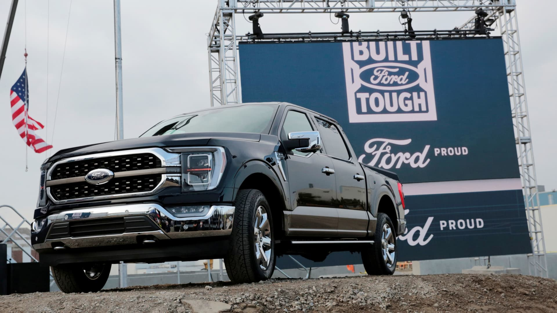 Ford Motor Co. displays a new 2021 Ford F-150 pickup truck at the Rouge Complex in Dearborn, Michigan, September 17, 2020.