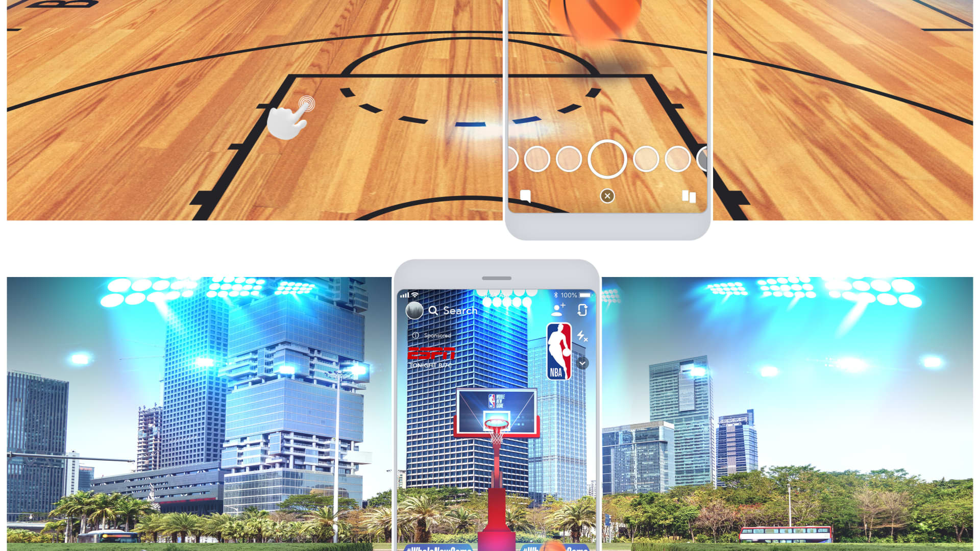 Snapchat partners with the NBA with Snapchat-NBA augmented reality features.