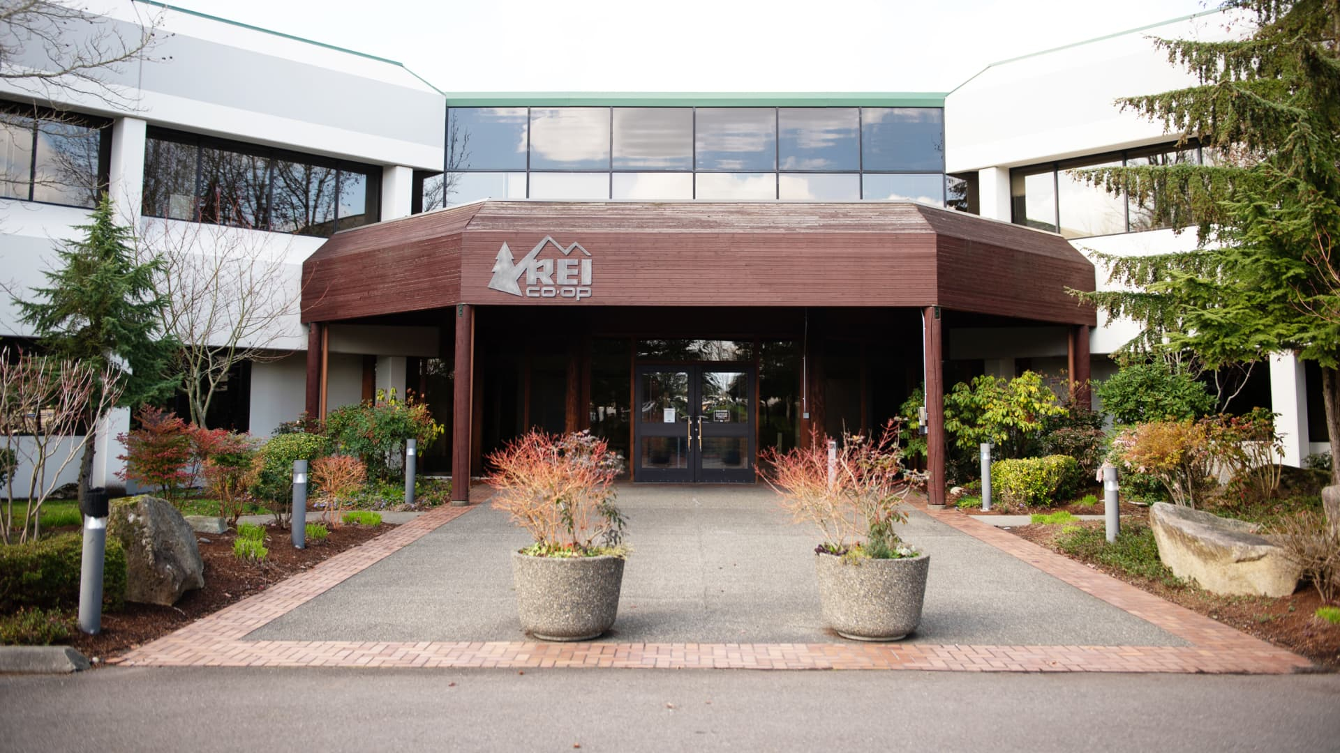 The Recreational Equipment Inc. (REI) headquarters stands in Kent, Washington, U.S., on Wednesday, March 4, 2020.