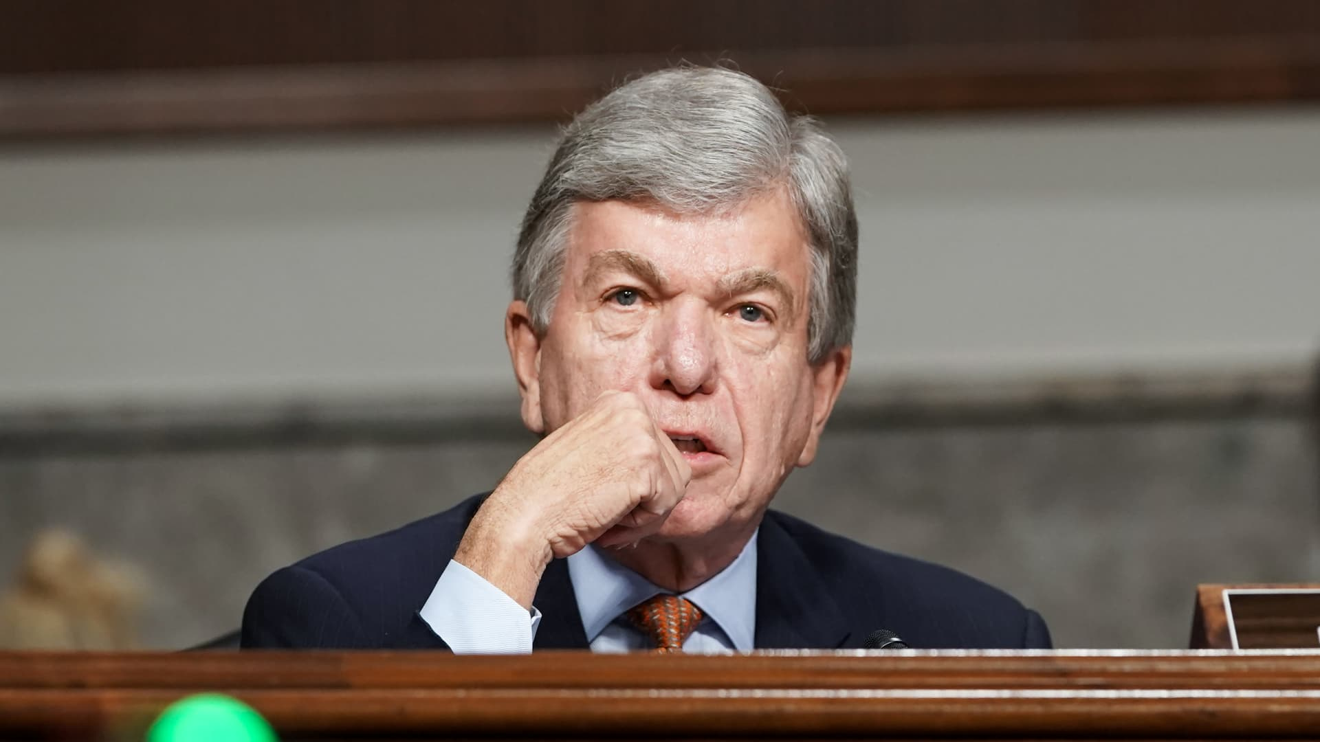 Sen. Roy Blunt (R-MO) asks questions during a Senate Homeland Security and Governmental Affairs & Senate Rules and Administration joint hearing to discuss the January 6th attack on the U.S. Capitol on March 3, 2021 in Washington, DC.