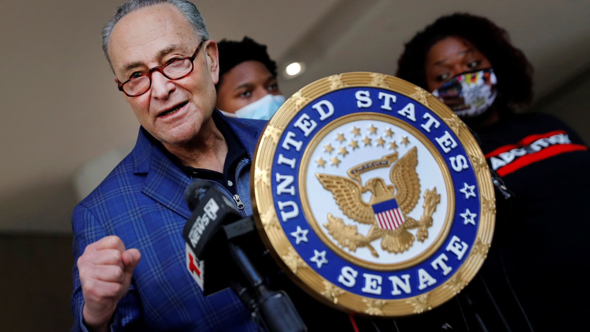 U.S. Senate Majority Leader Chuck Schumer (D-NY) speaks about the coronavirus disease (COVID-19) relief legislation recently passed by the U.S. Senate during a news conference in Manhattan in New York, March 8, 2021.