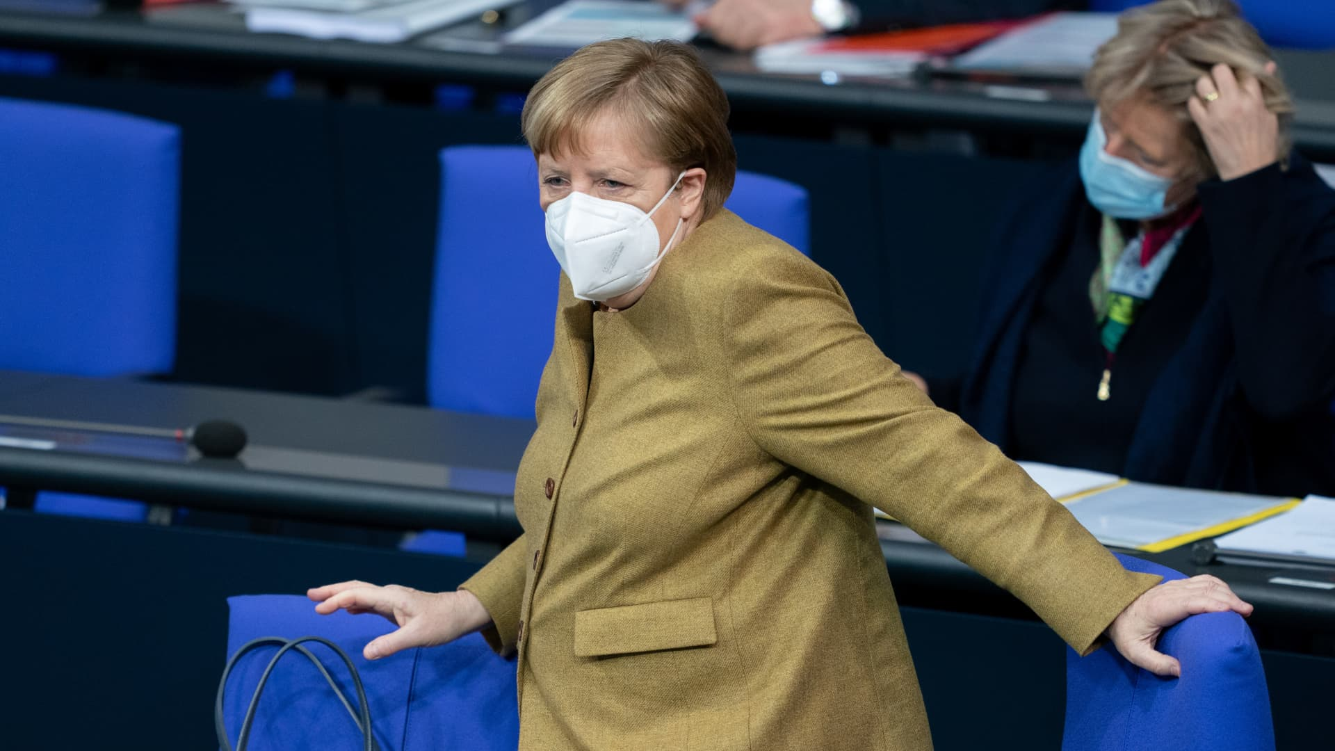 Chancellor Angela Merkel attends the 215th session of the Bundestag. Topics include the epidemic situation of national scope and the effects of the lockdown on the economy.
