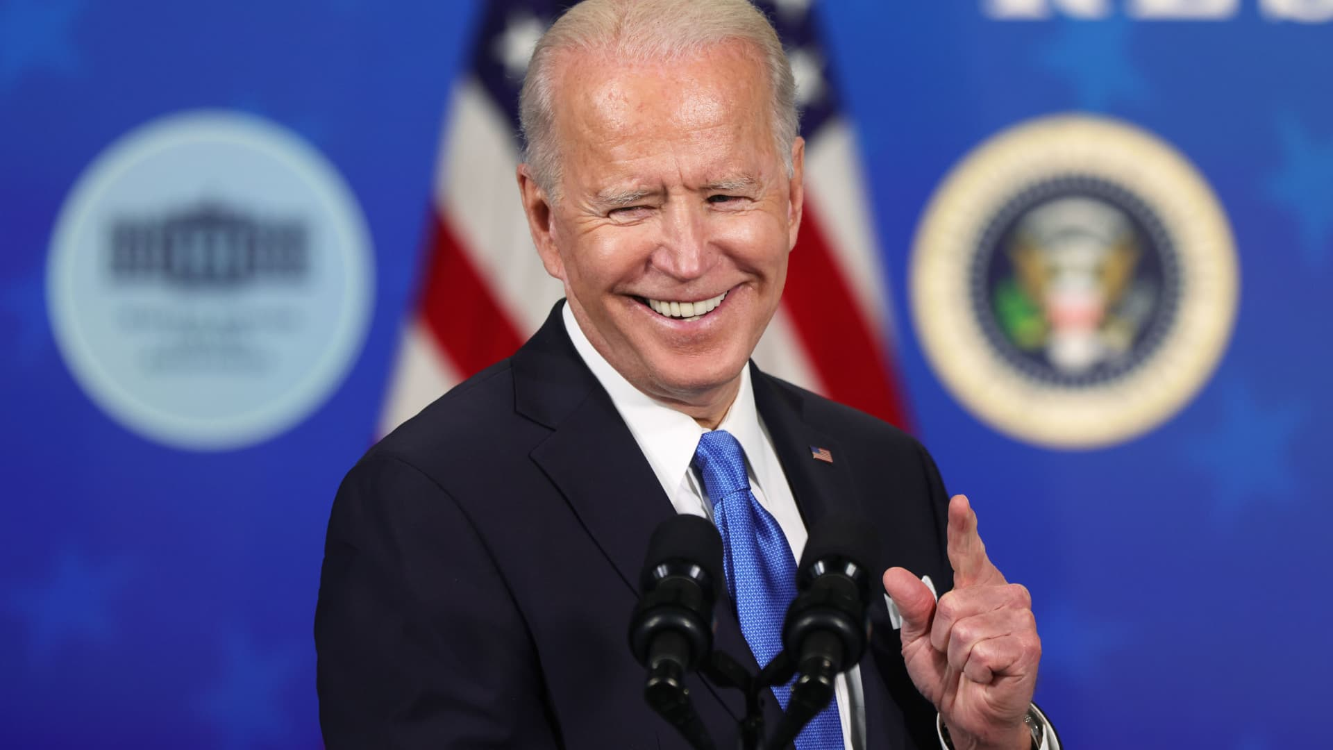 U.S. President Joe Biden speaks during an event with the CEOs of Johnson & Johnson and Merck at the South Court Auditorium of the Eisenhower Executive Office Building March 10, 2021 in Washington, DC.