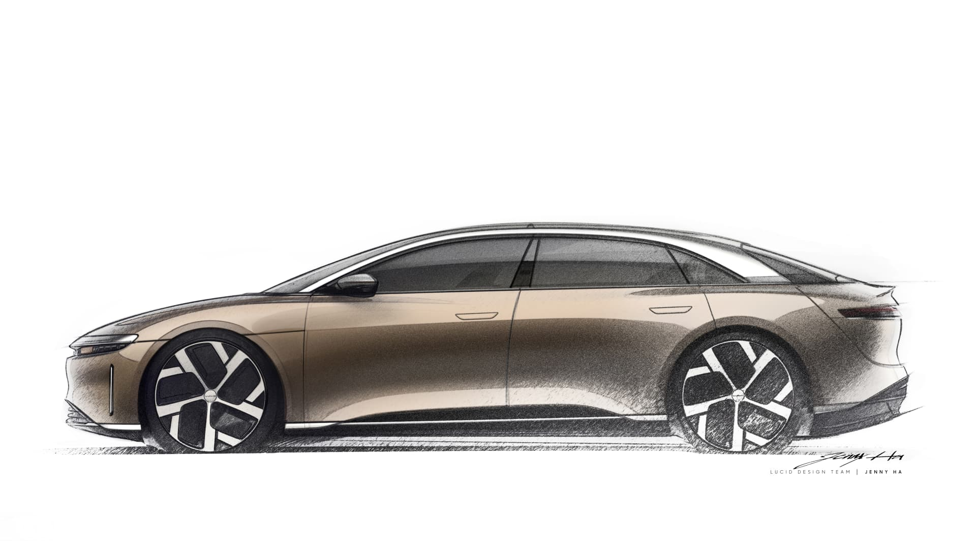 A design sketch of the Lucid Air from the team led by vice president of design Derek Jenkins.