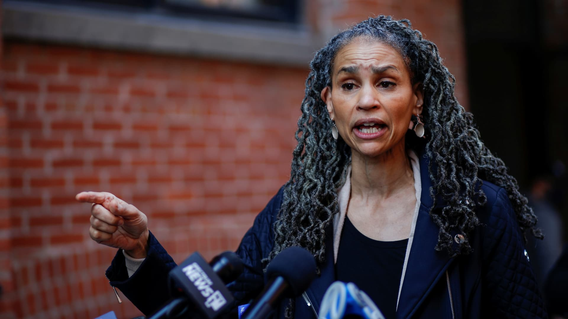 Maya Wiley, a Democratic candidate for mayor of New York City, speaks during a news conference with Andrew Yang, who also runs for the post, as they campaign in Brooklyn, New York, March 11, 2021.