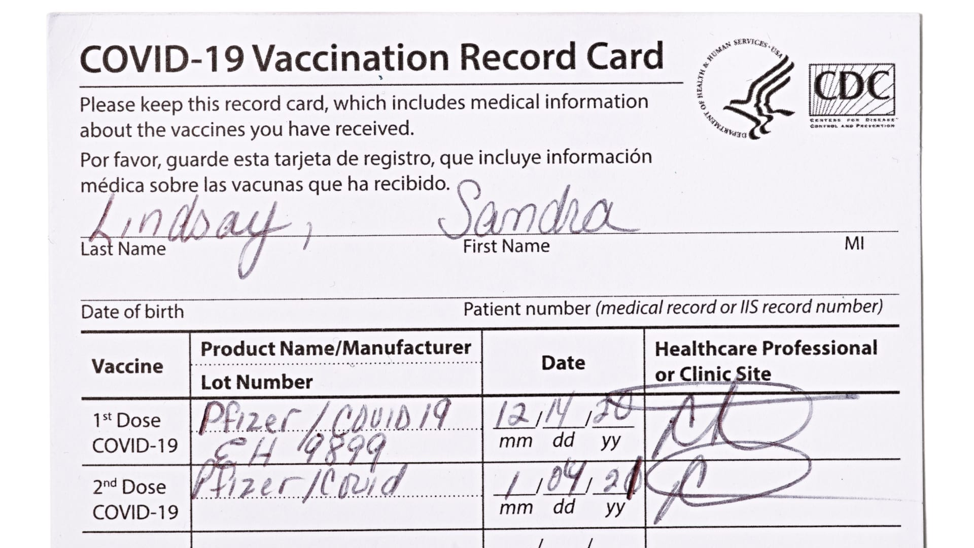 Nurse Sandra Lindsay's vaccine record card are seen after being donated to the collection of the Smithsonian's National Museum of American History in Washington, U.S. March 4, 2021.