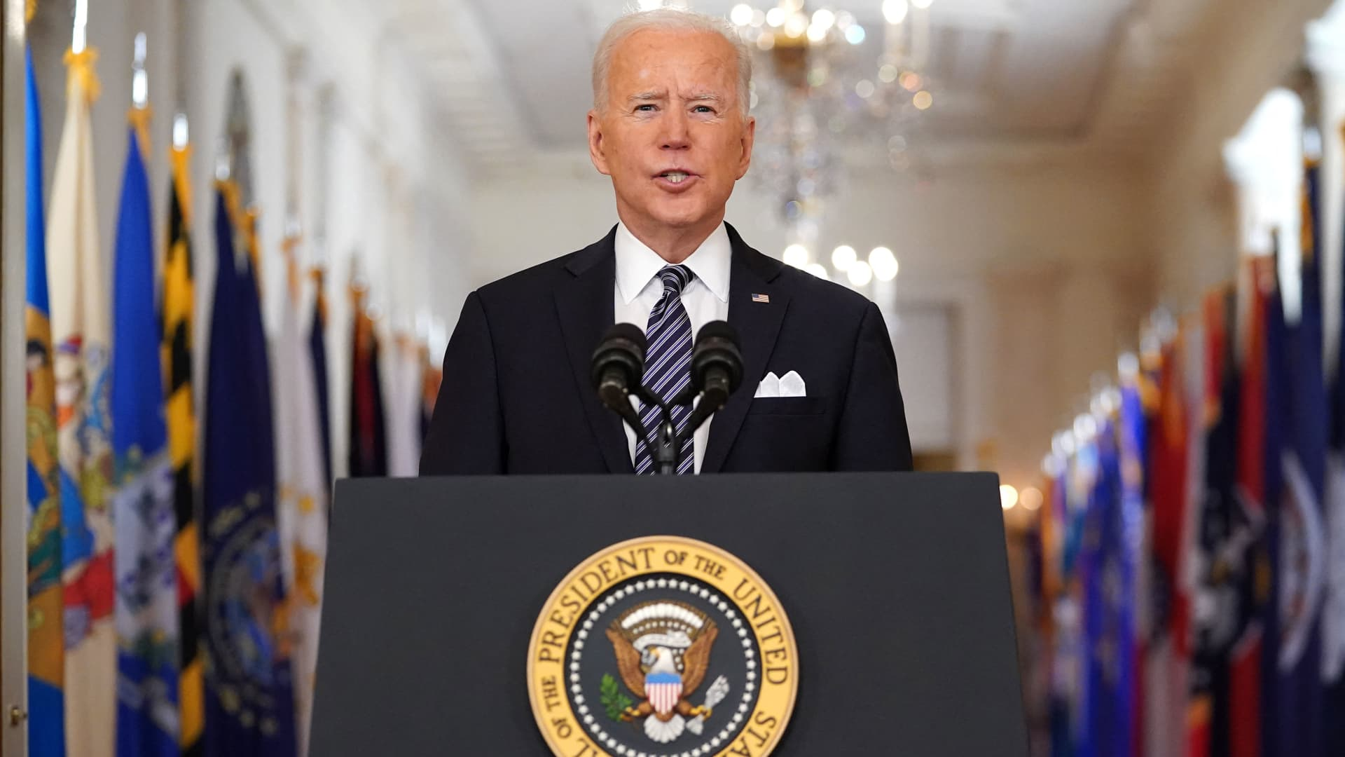 US President Joe Biden speaks on the anniversary of the start of the Covid-19 pandemic, in the East Room of the White House in Washington, DC on March 11, 2021.