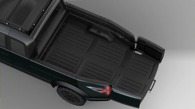 Xe bán tải điện mới của Canoo có giường chở hàng phía sau có thể mở rộng.