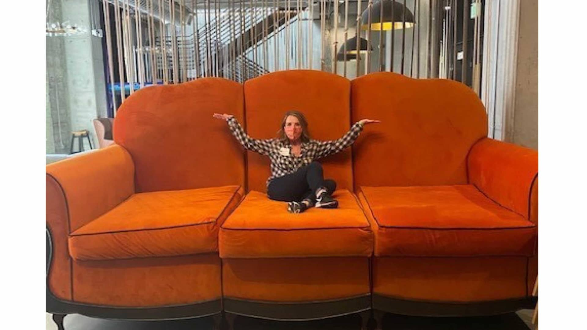 Clear Office founder Brandi Susewitz rests on a larger-than-life chair at Twitch offices in San Francisco.