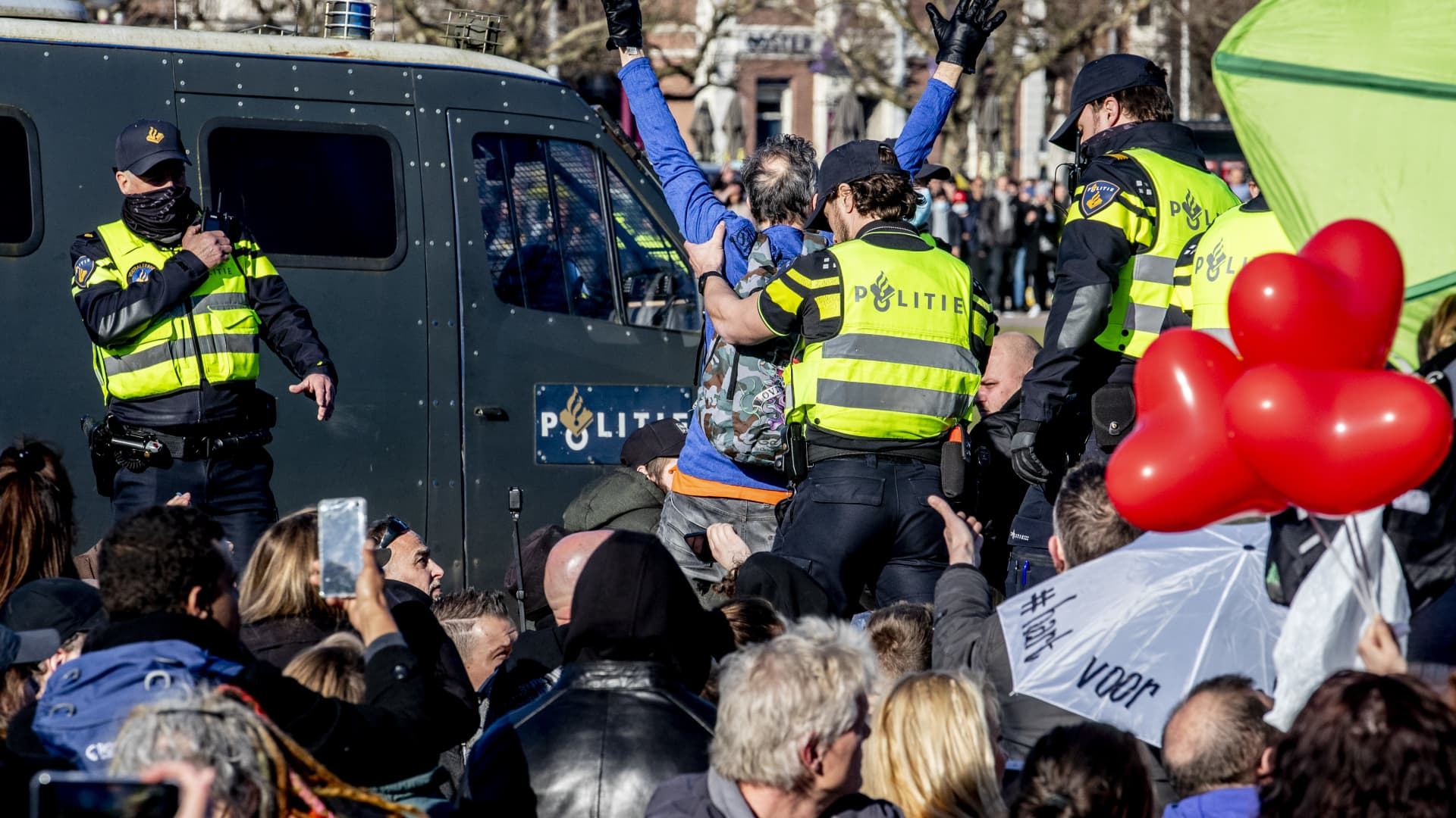 Riot police are seen clearing an anti-lockdown protest at the Museumplein on February 28, 2021 in Amsterdam, Netherlands.