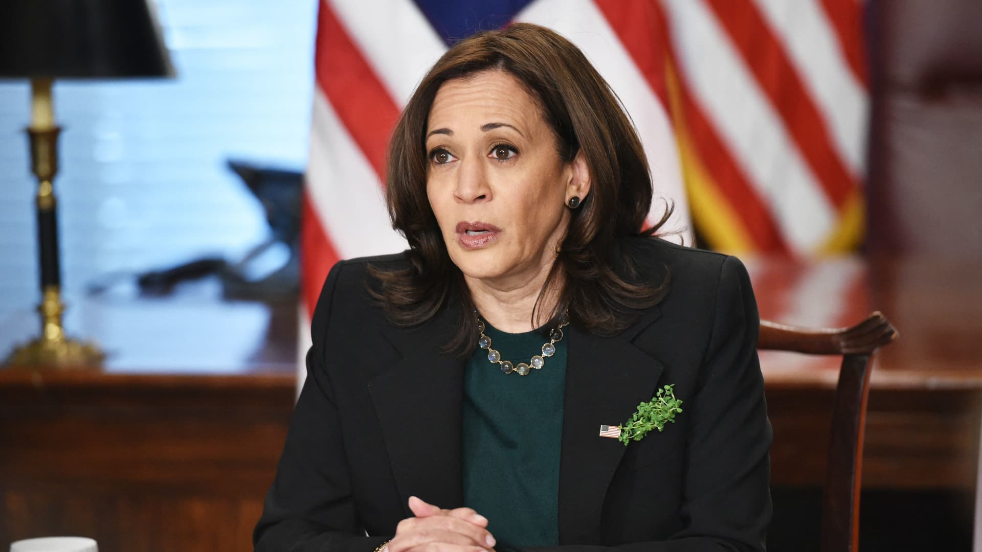 Vice President Kamala Harris speaks on the Atlanta area shootings before a virtual bilateral meeting with Ireland's Prime Minister Micheal Martin in the Vice President's Ceremonial Office in the Eisenhower Executive Office Building, next to the White House in Washington, DC on March 17, 2021.